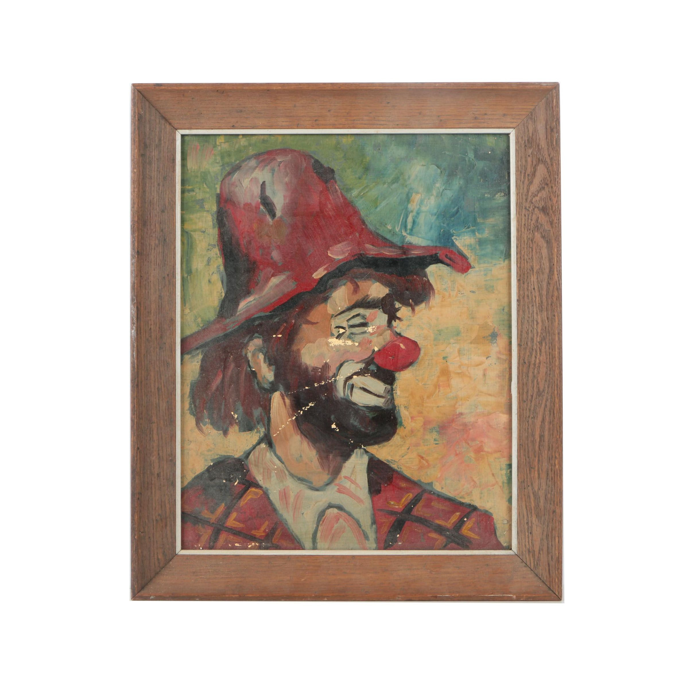 Dutch Oil Painting on Canvas of Clown