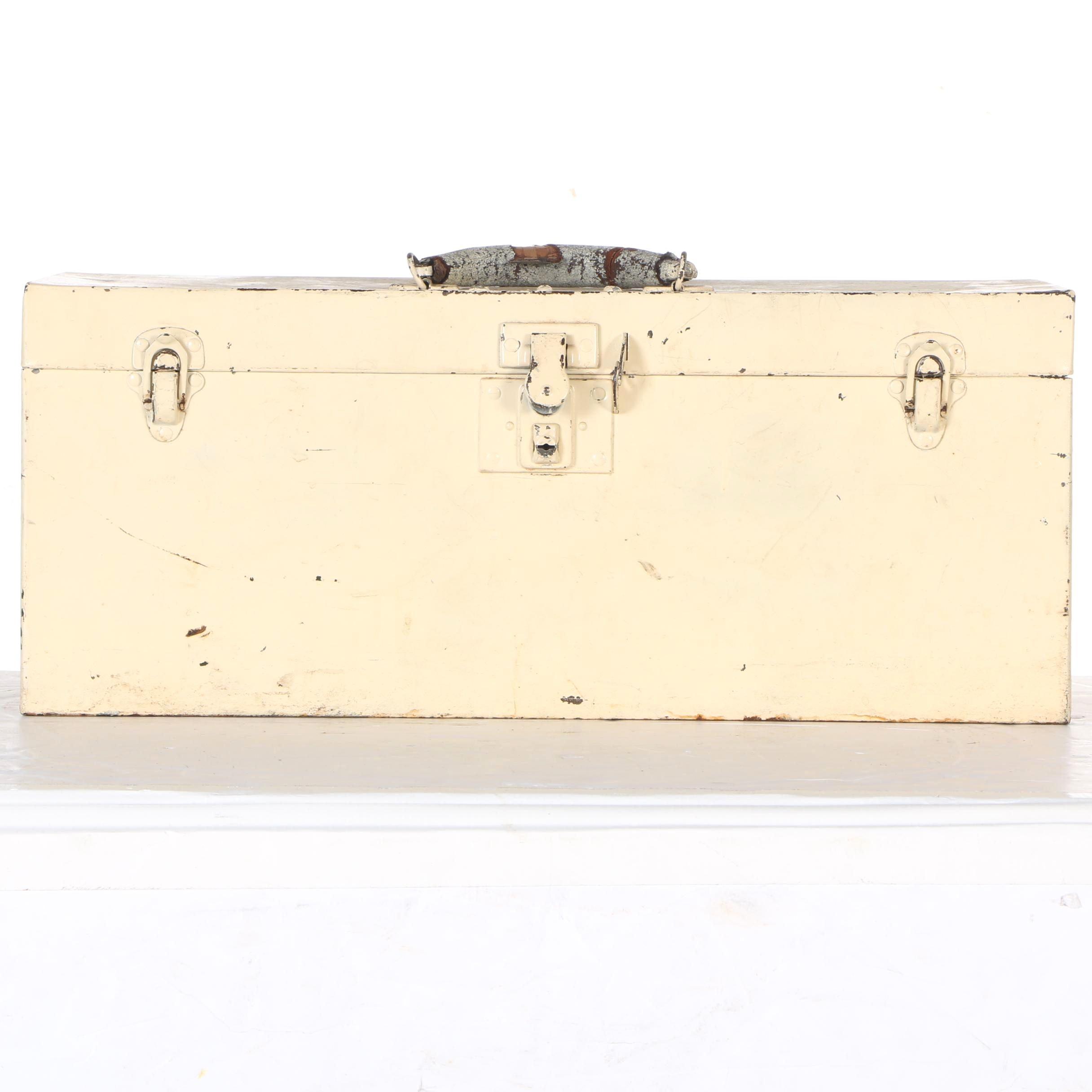 Vintage Metal Toolbox with Hand Tools