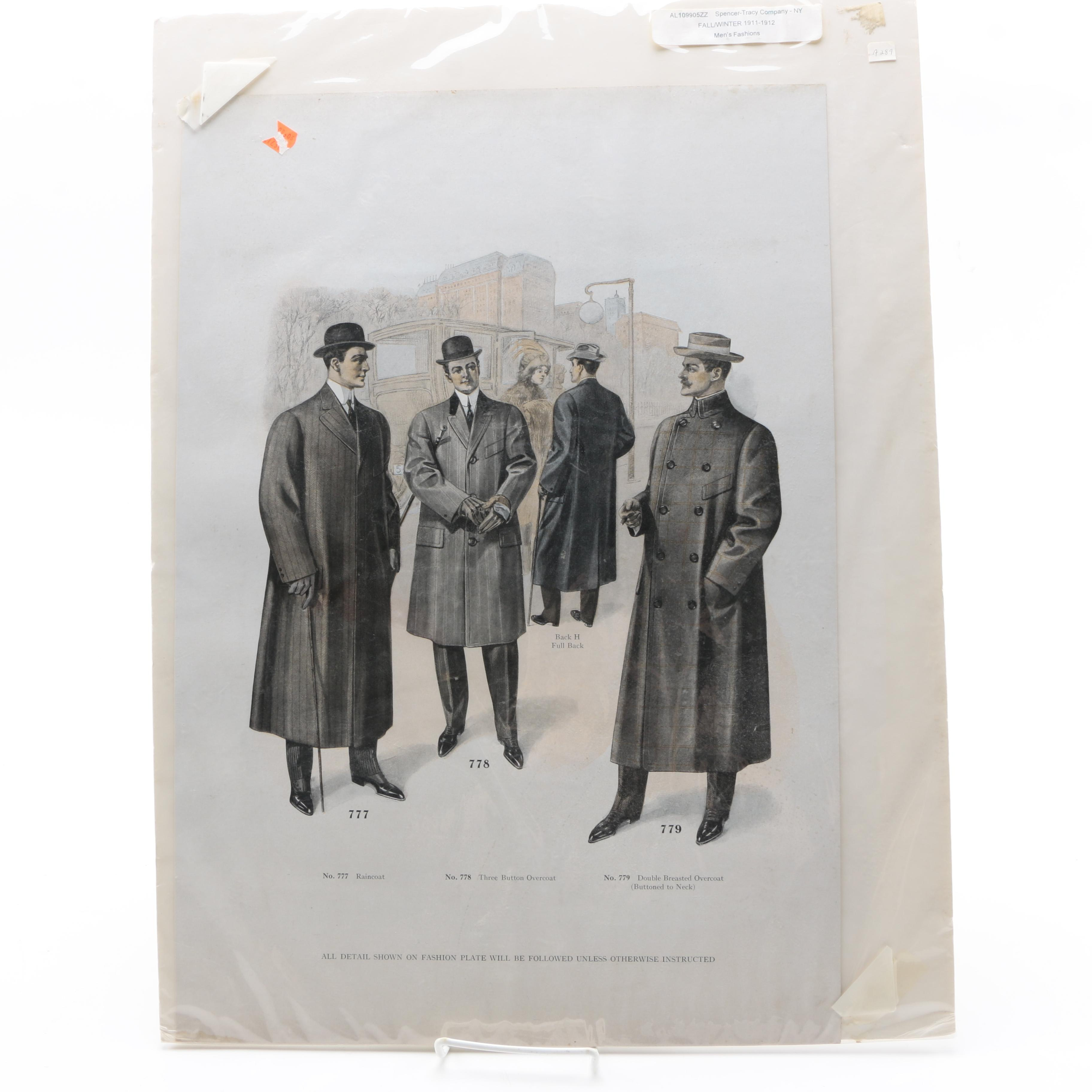 Halftone Print of Spencer-Tracy Company Fall/Winter 1911-1912 Men's Fashion Plate
