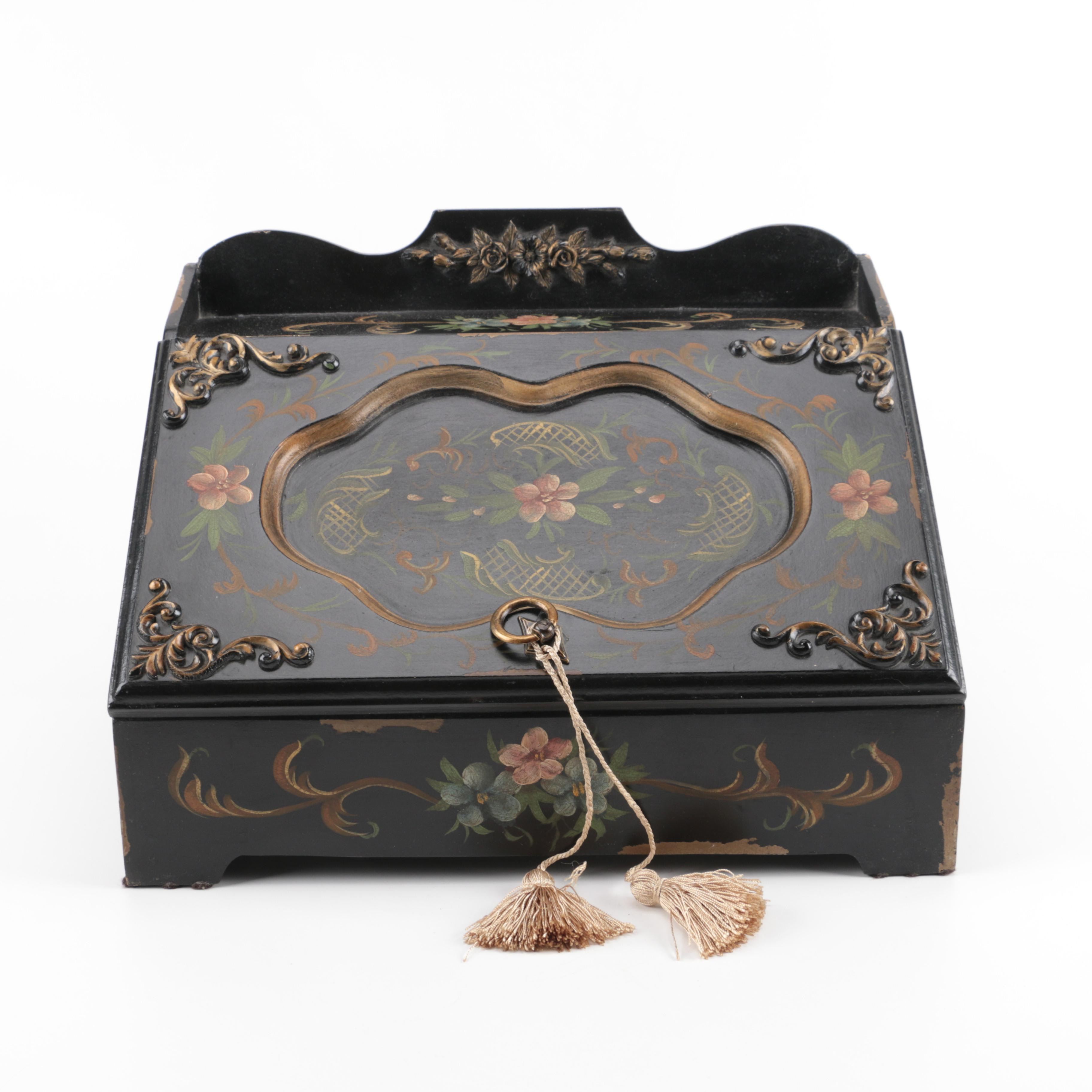 Slant Front Box With Painted Floral Motif