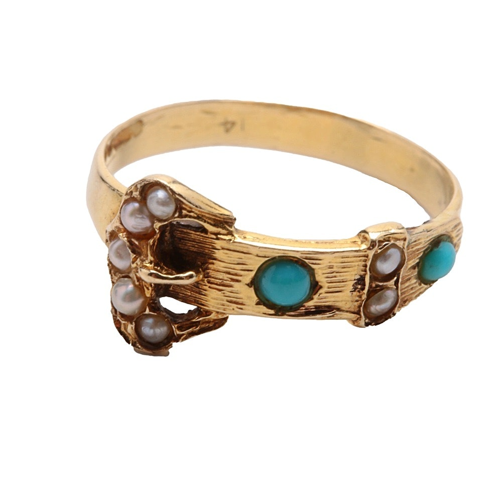 Vintage 10K Yellow Gold Buckle Ring with Turquoise and Seed Pearl