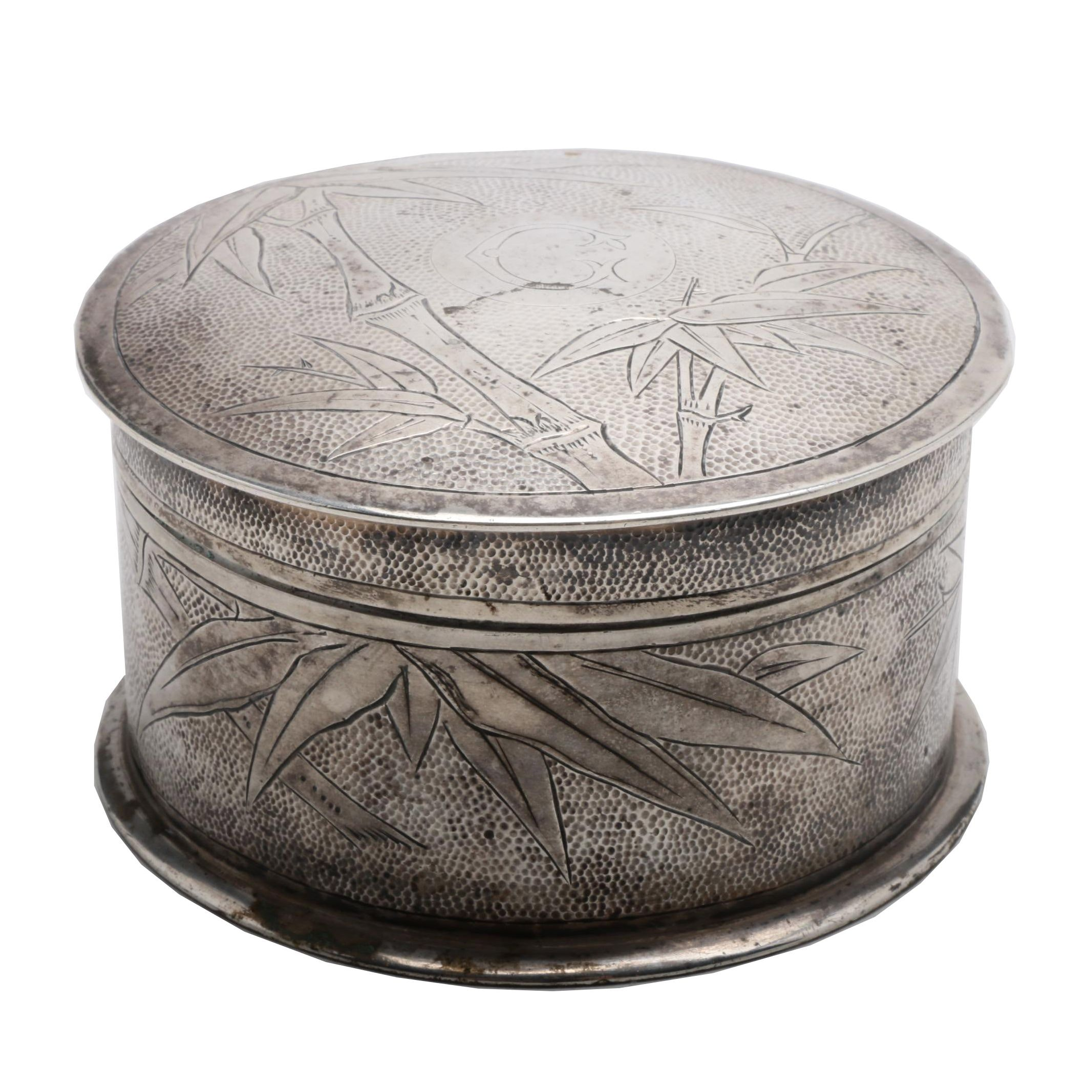 Chinese 800 Silver Round Box with Bamboo Design