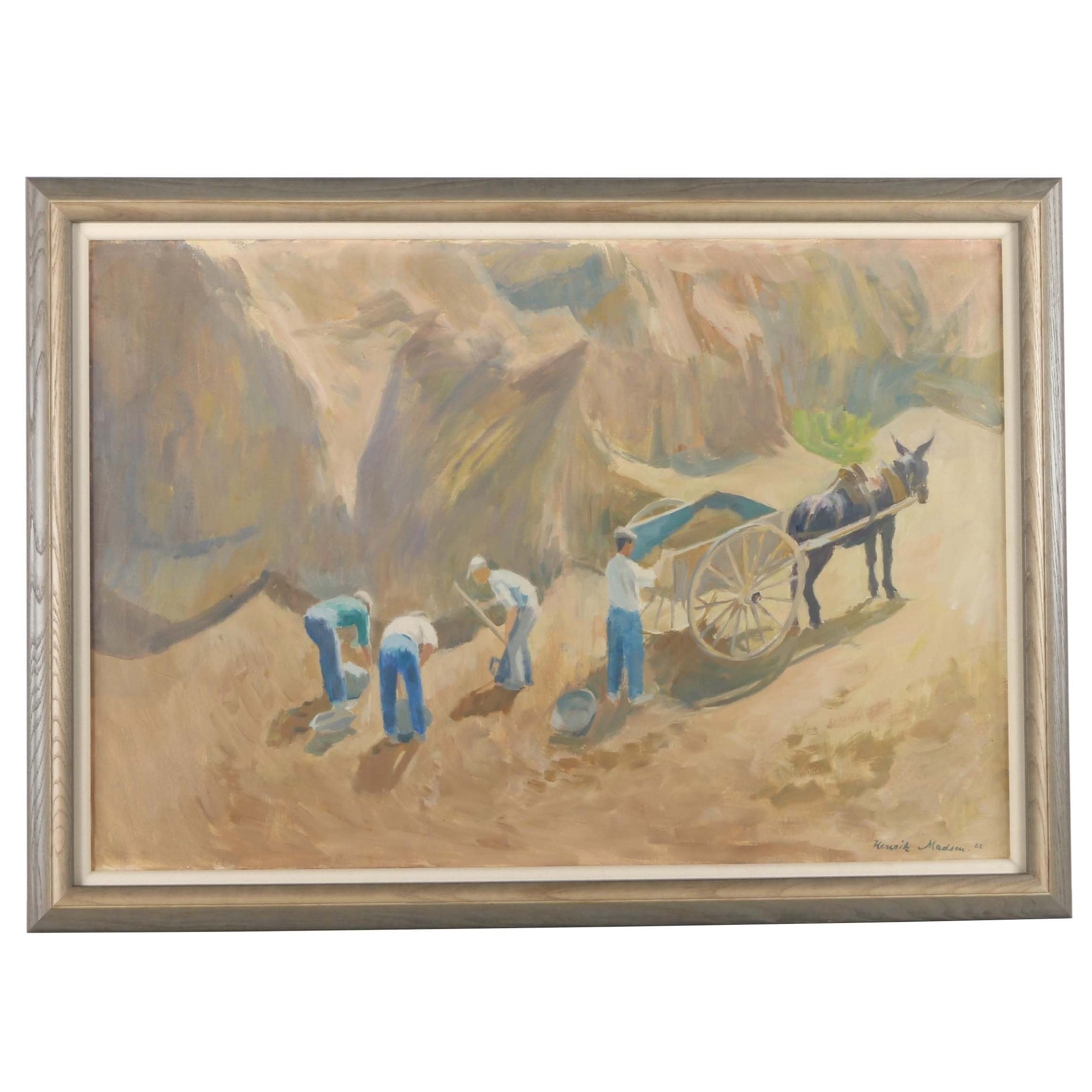 1962 Henrik Madsen Oil Painting on Canvas of Diggers Before a Cliff