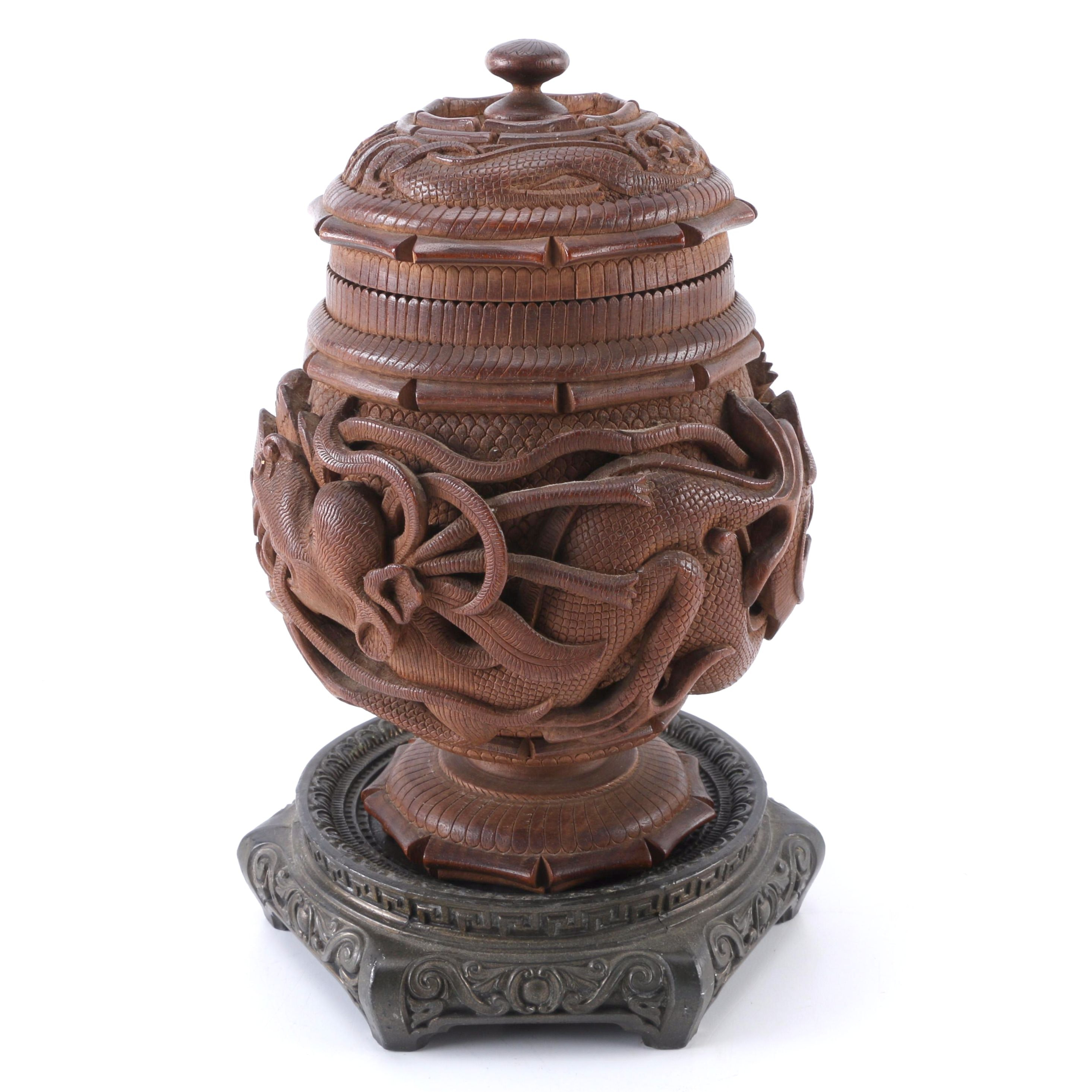 Chinoiserie Carved Wooden Dragon Motif Tobacco Jar on Stand