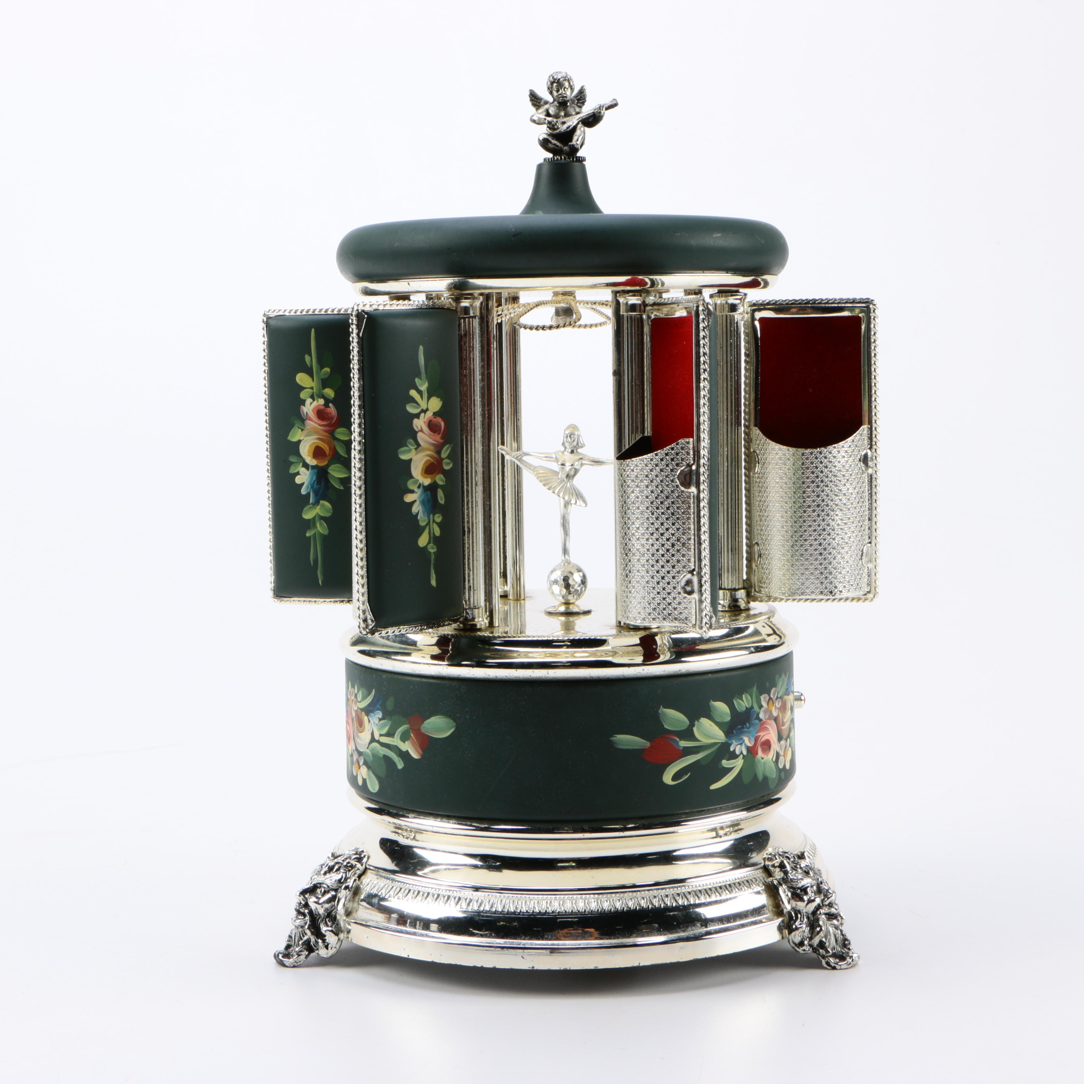 Reuge Swiss Green and Silver Music Box Cigarette Dispenser