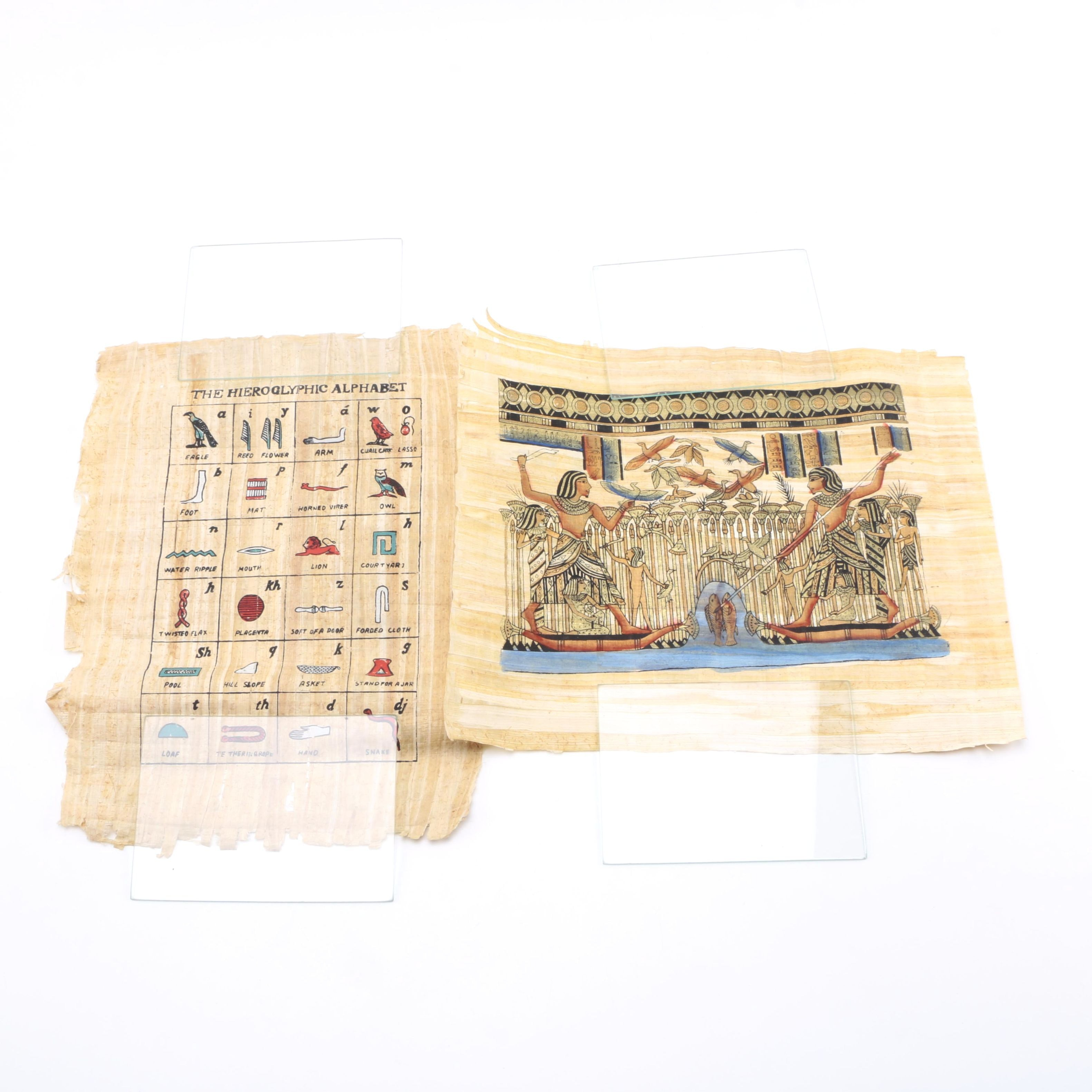 Egyptian Style Serigraph Prints on Papyrus.