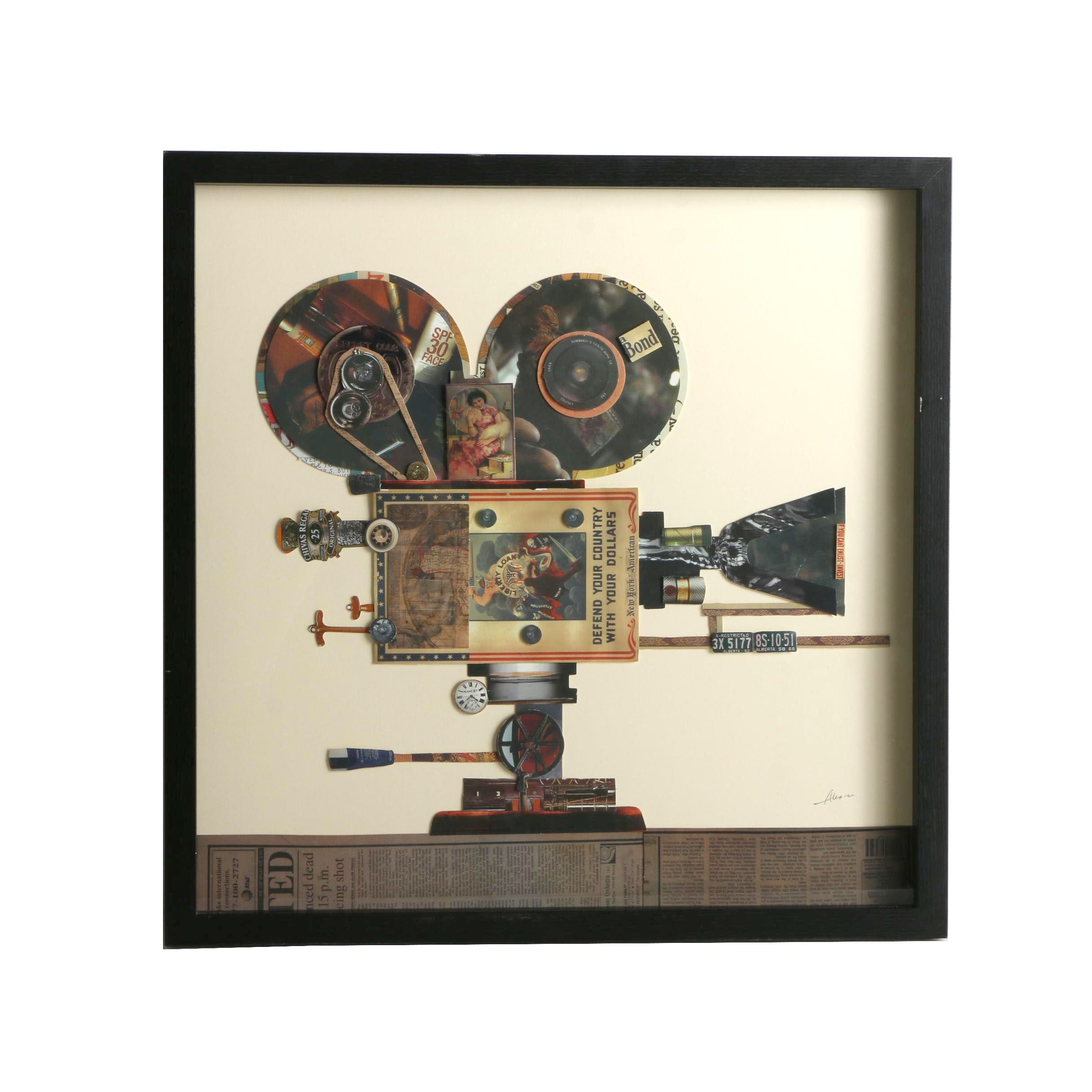 Mixed Media Print Collage of a Film Projector
