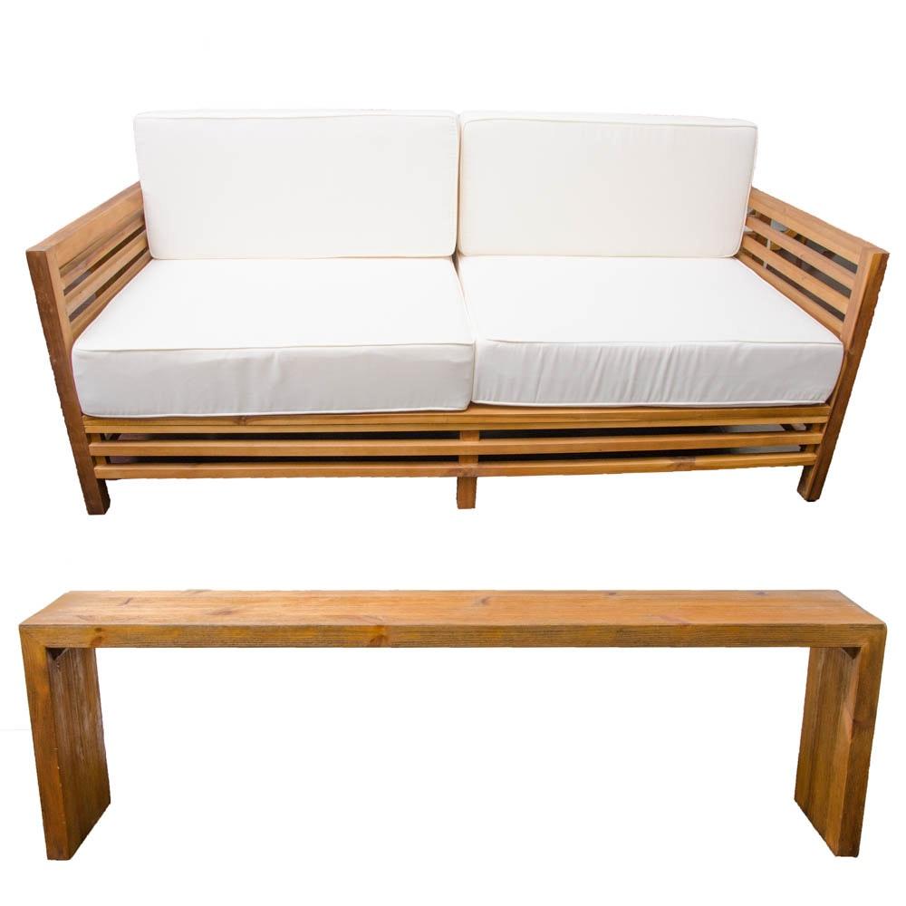 Outdoor Teak Sofa with Sofa Table
