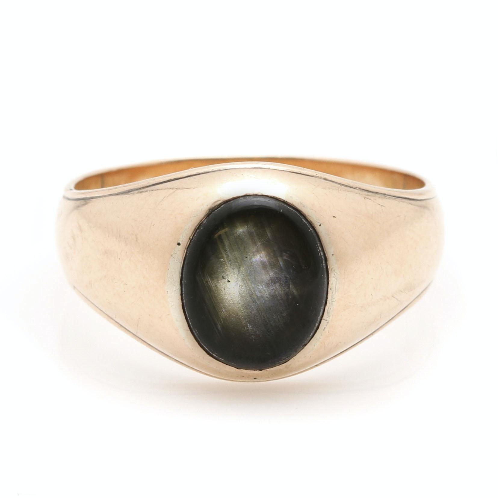 14K Yellow Gold Black Star Sapphire Ring