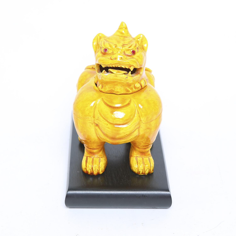 Ceramic Guardian Lion Incense Burner with Stand