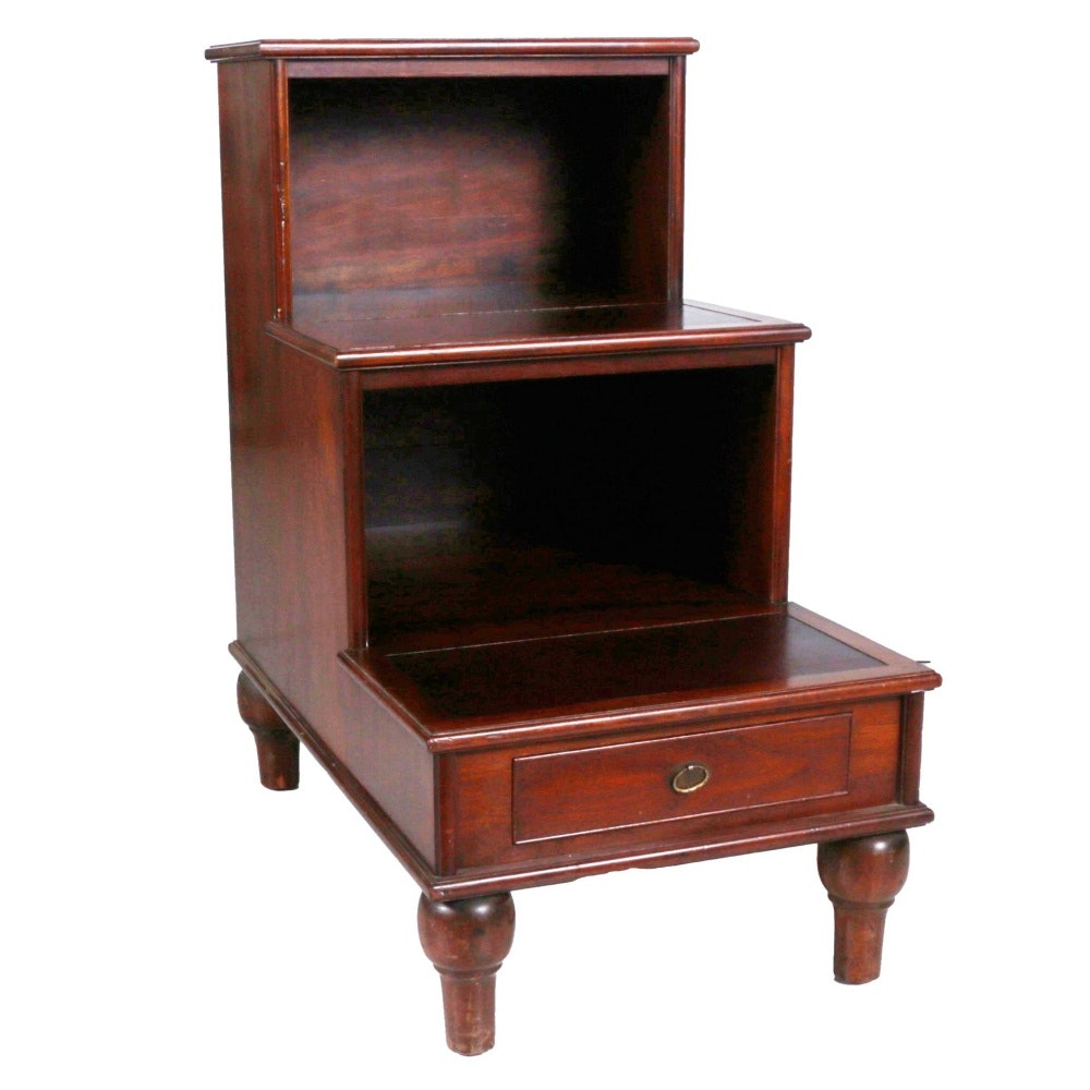 Early 20th Century Regency Style Library Steps With Drawer