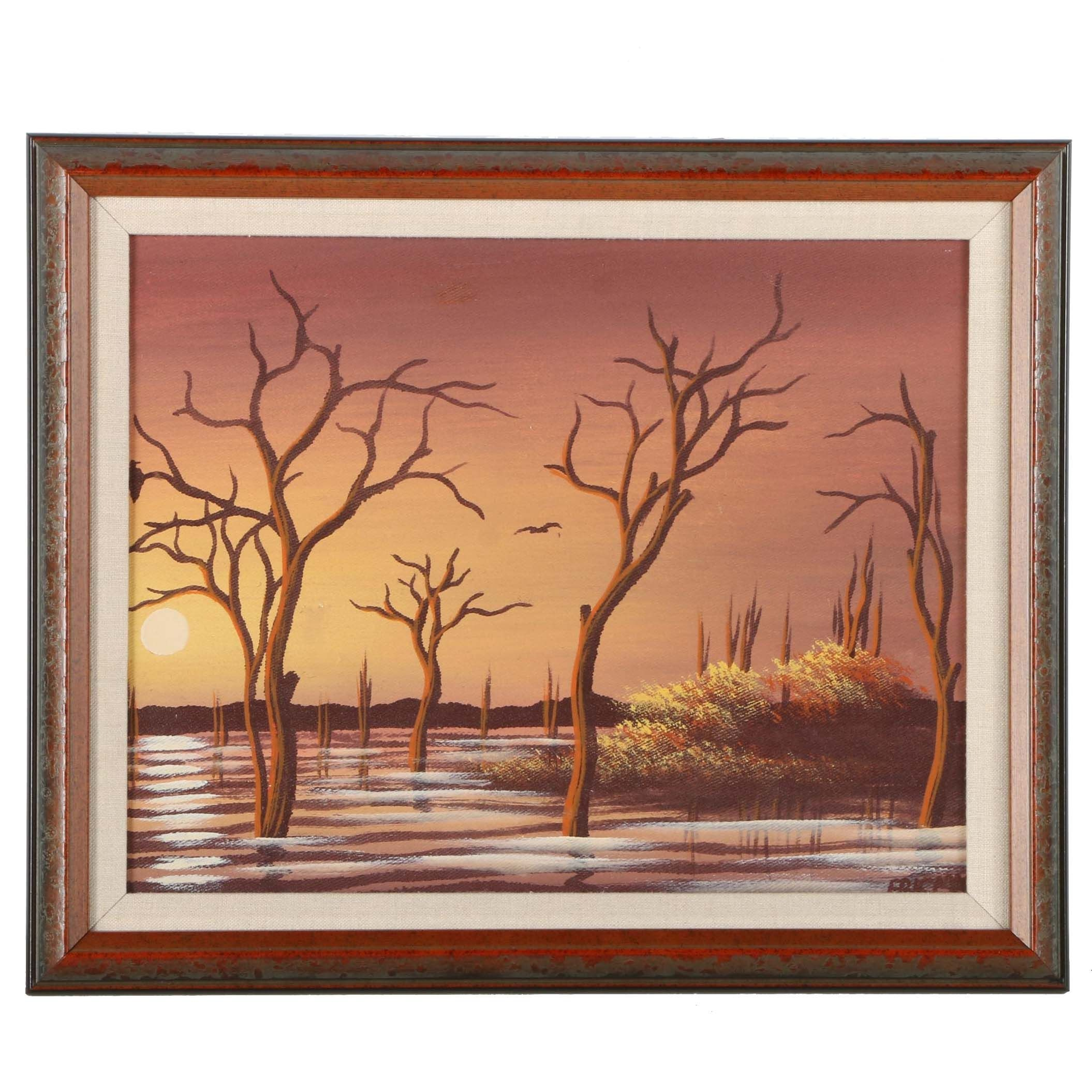 Acrylic Painting on Canvas Board of Trees Rising Above the Shallows