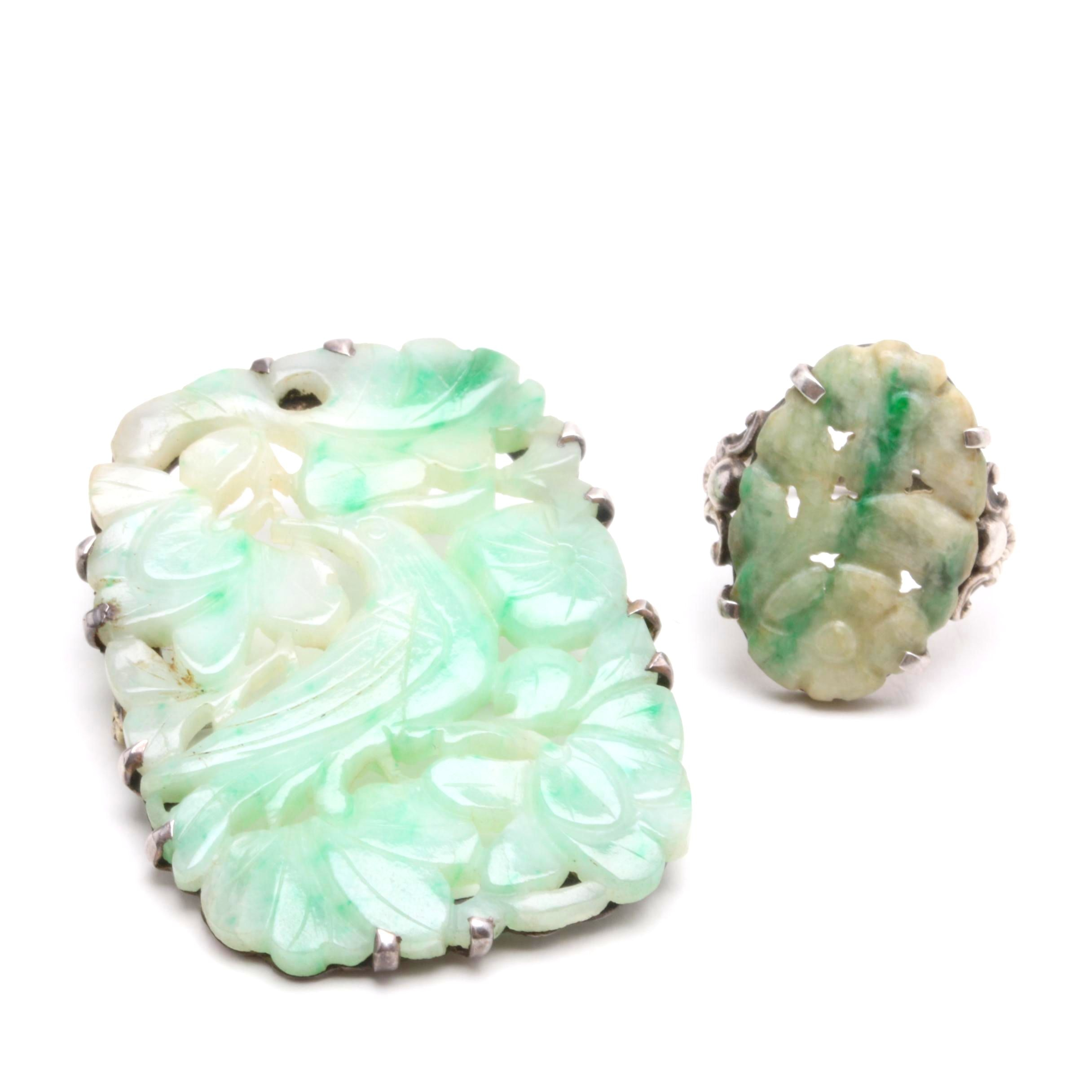 Vintage Carved Jadeite Brooch and Ring, Sterling Silver Settings