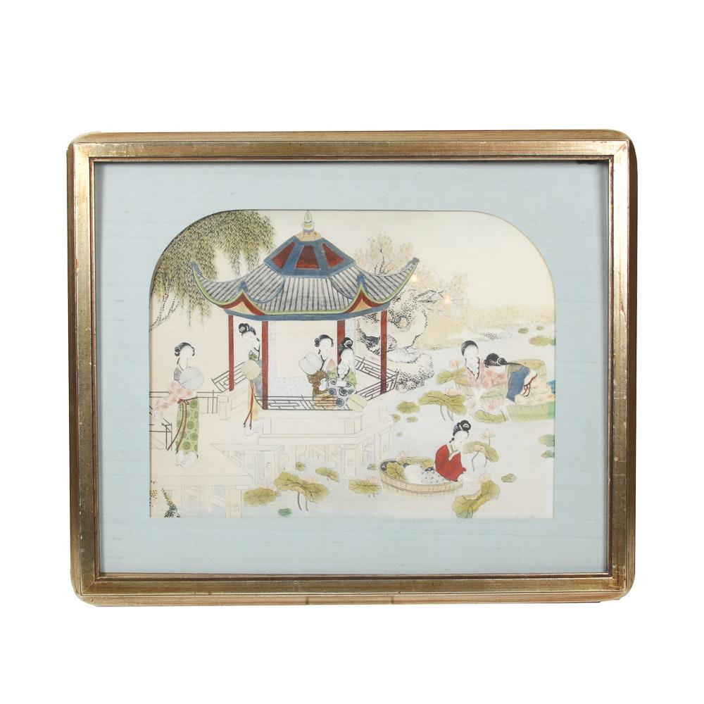Vintage Framed Chinese Print