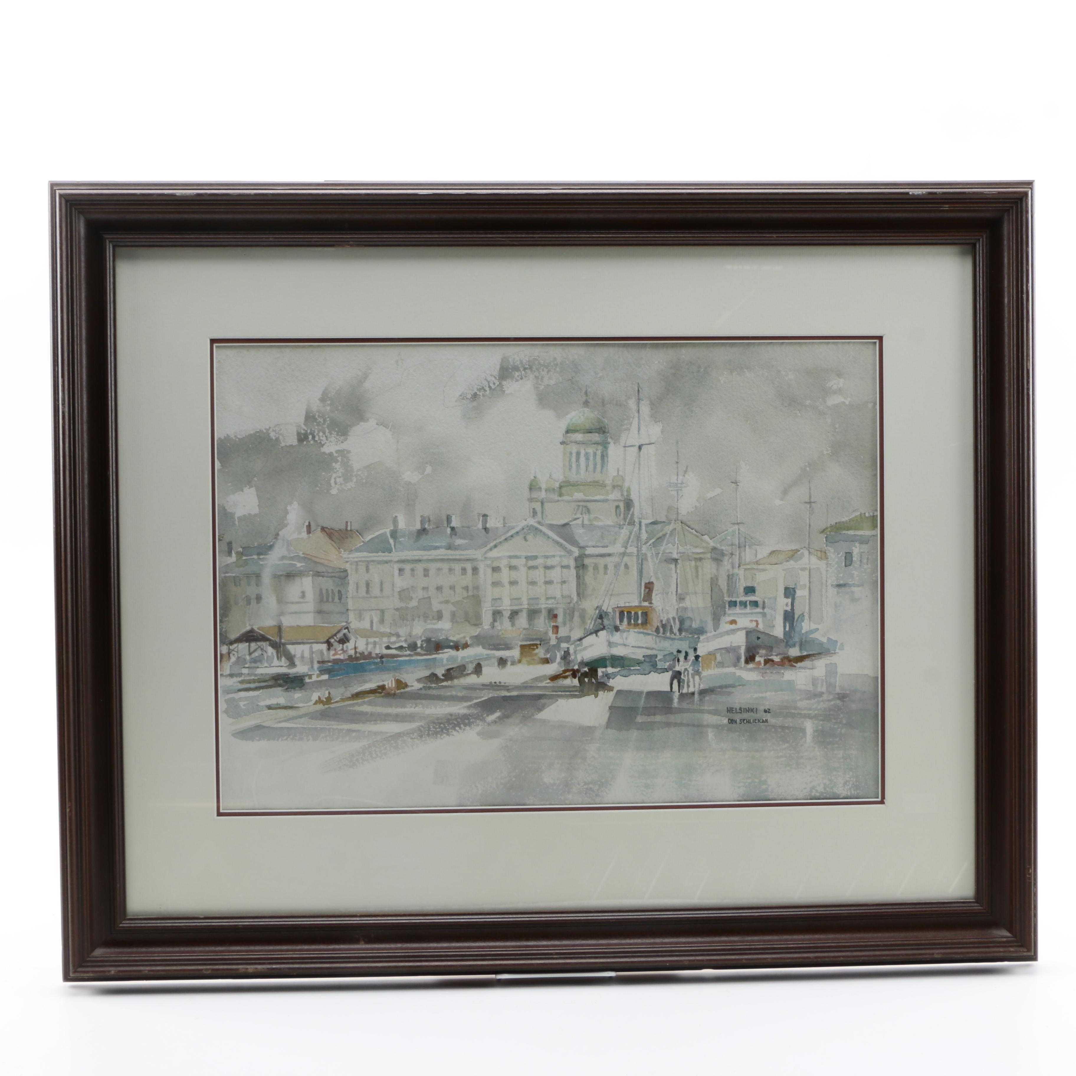 Don Schlickan Watercolor of Helsinki