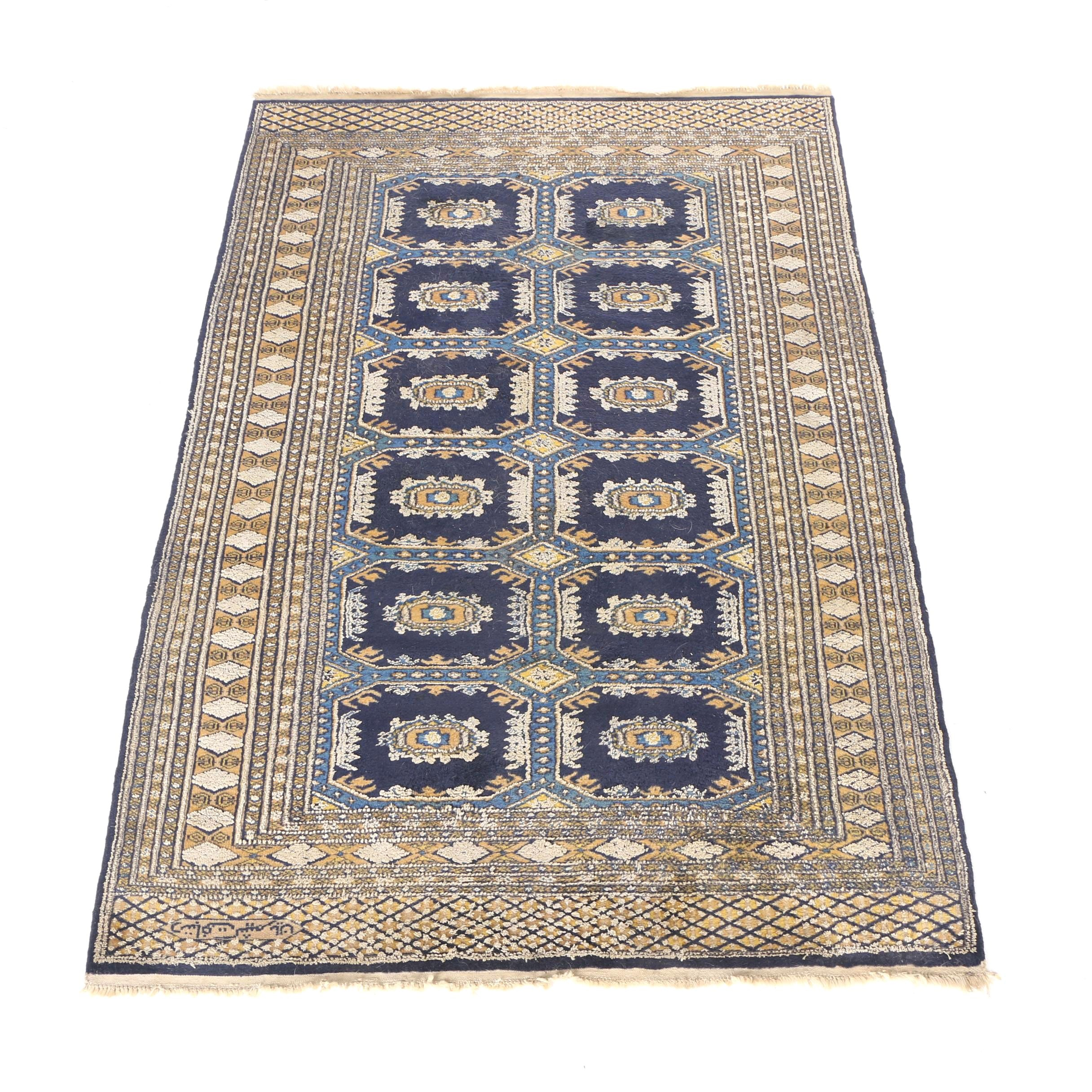 Signed Hand-Knotted Bokhara Area Rug