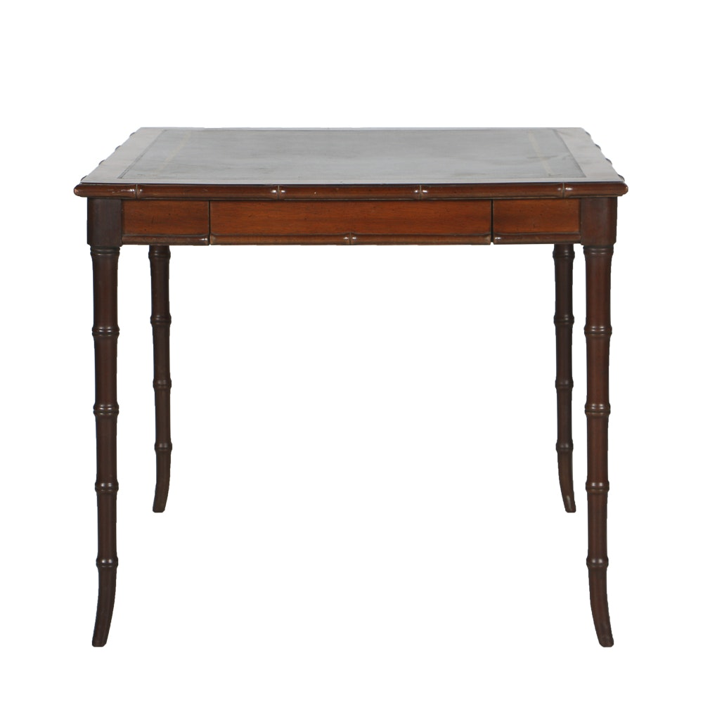 Vintage Bamboo-Turned Card Table With Leather Top