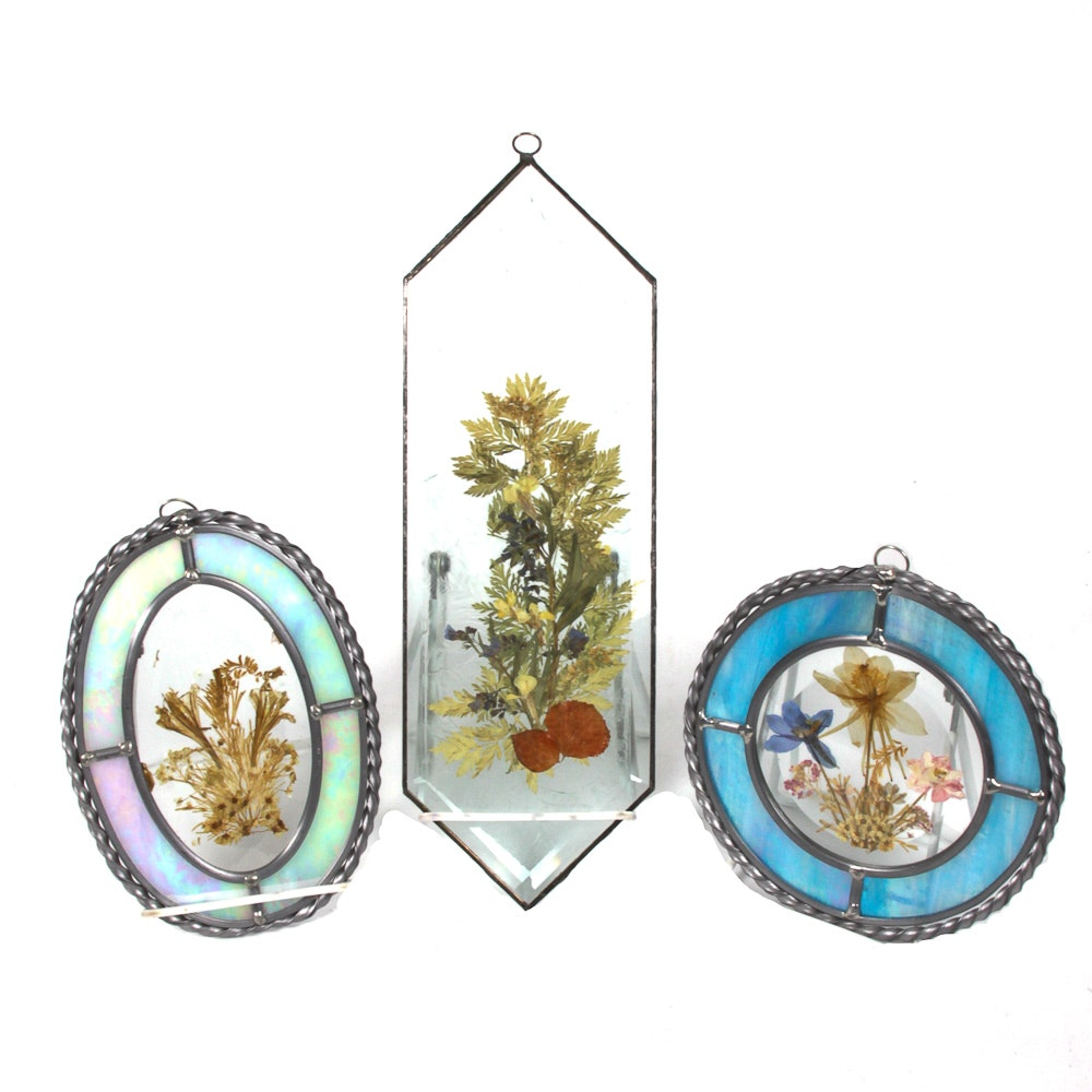 Framed Stained Glass Style Pressed Flowers