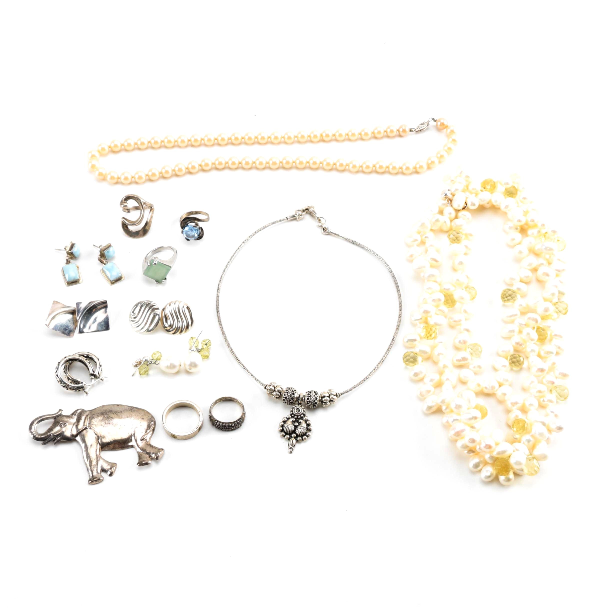 Sterling Silver Jewelry Including Cultured Pearls