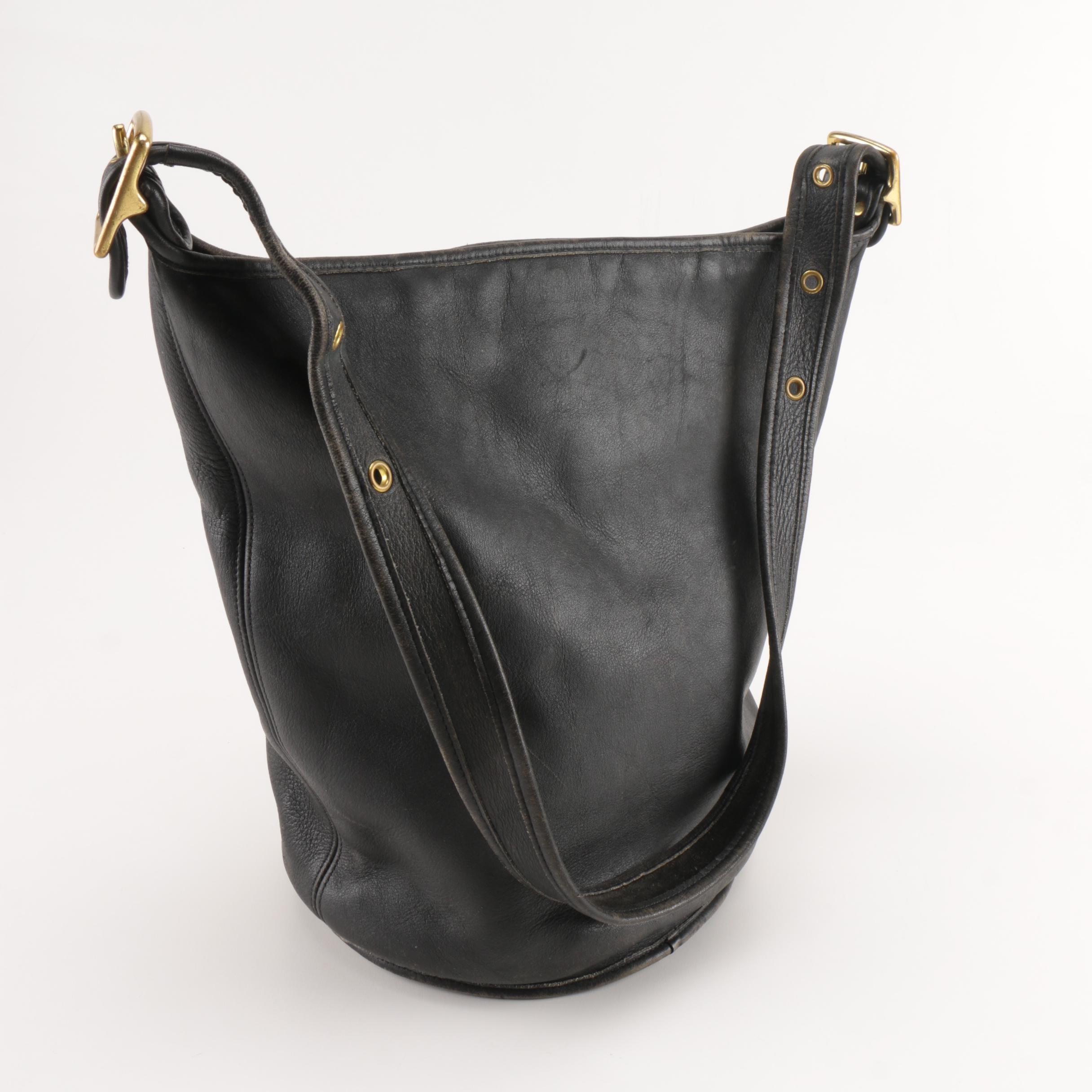 Vintage Coach Black Leather Bucket Tote