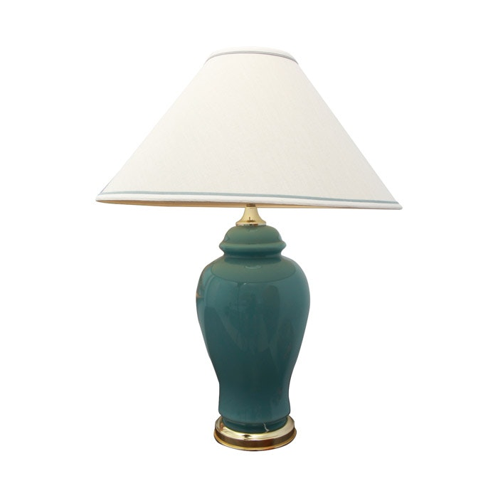 Blue Lamp with Brass Base