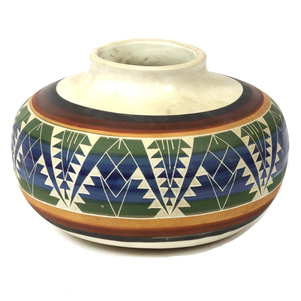Signed Native American Pottery Vase