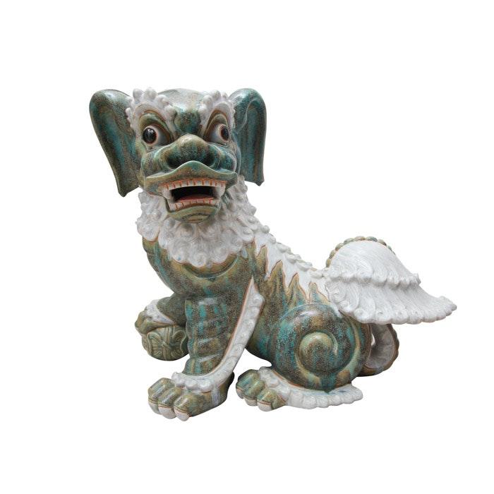 Ceramic Guardian Lion Figure