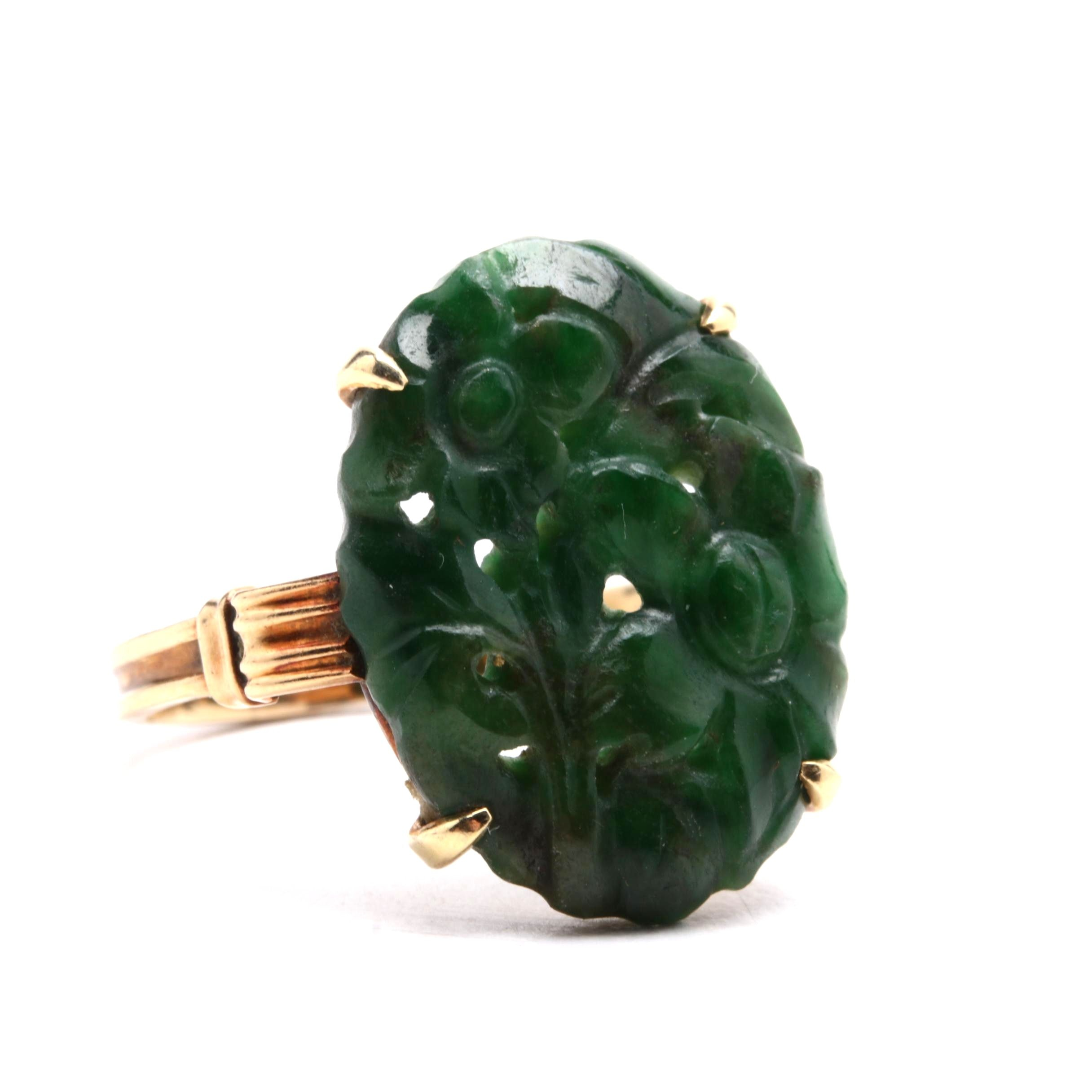 Vintage Carved Jadeite Ring in 14K Yellow Gold Setting