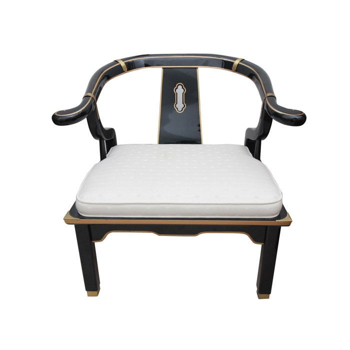 """Black """"Serenity"""" Chair with White Upholstery by Century Chairs"""