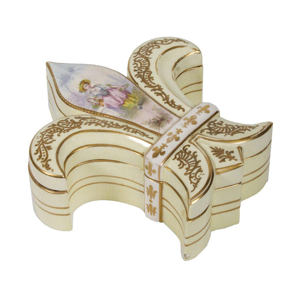 Ceramic Fleur De Lis Shaped Trinket Box