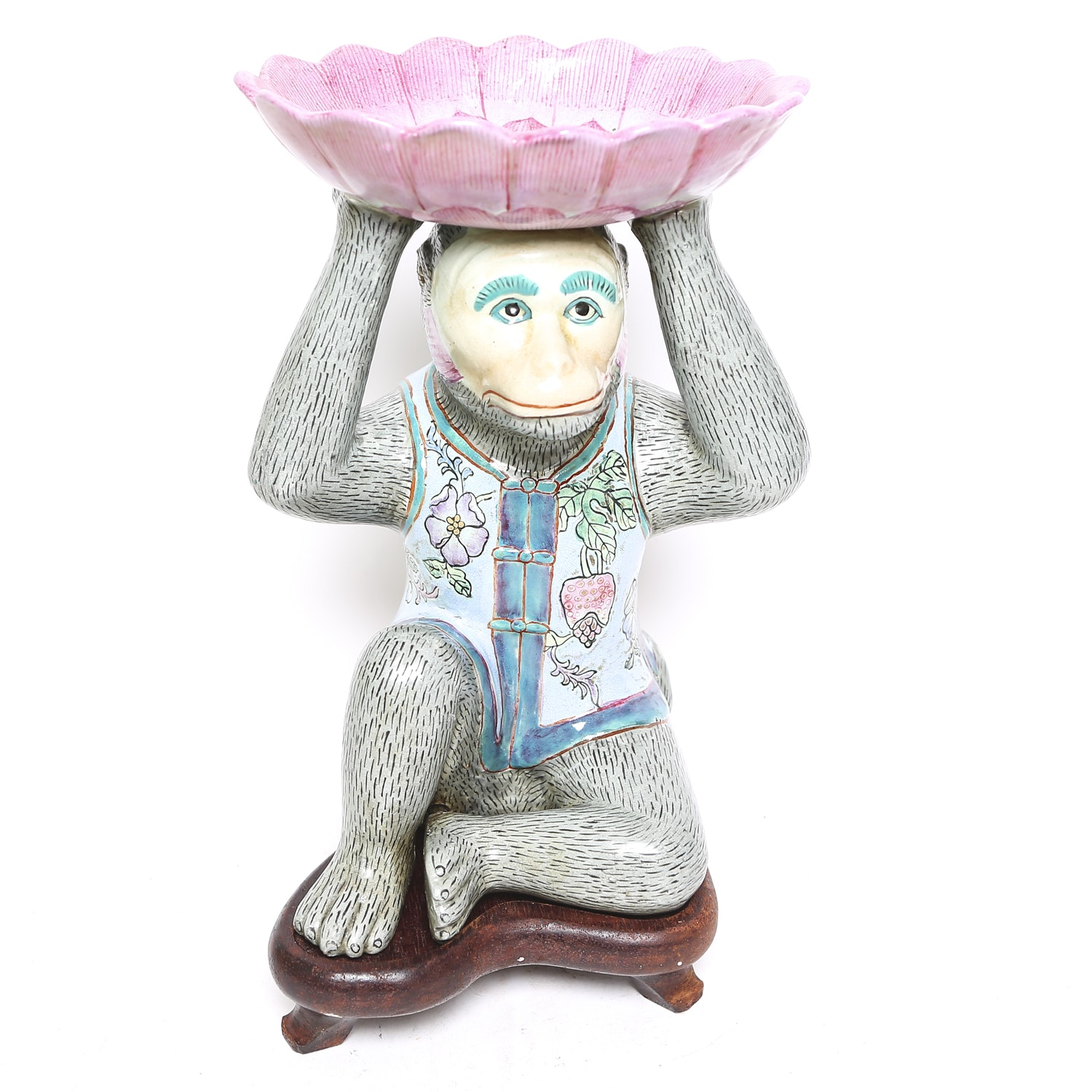 Chinese Ceramic Monkey with Wooden Stand