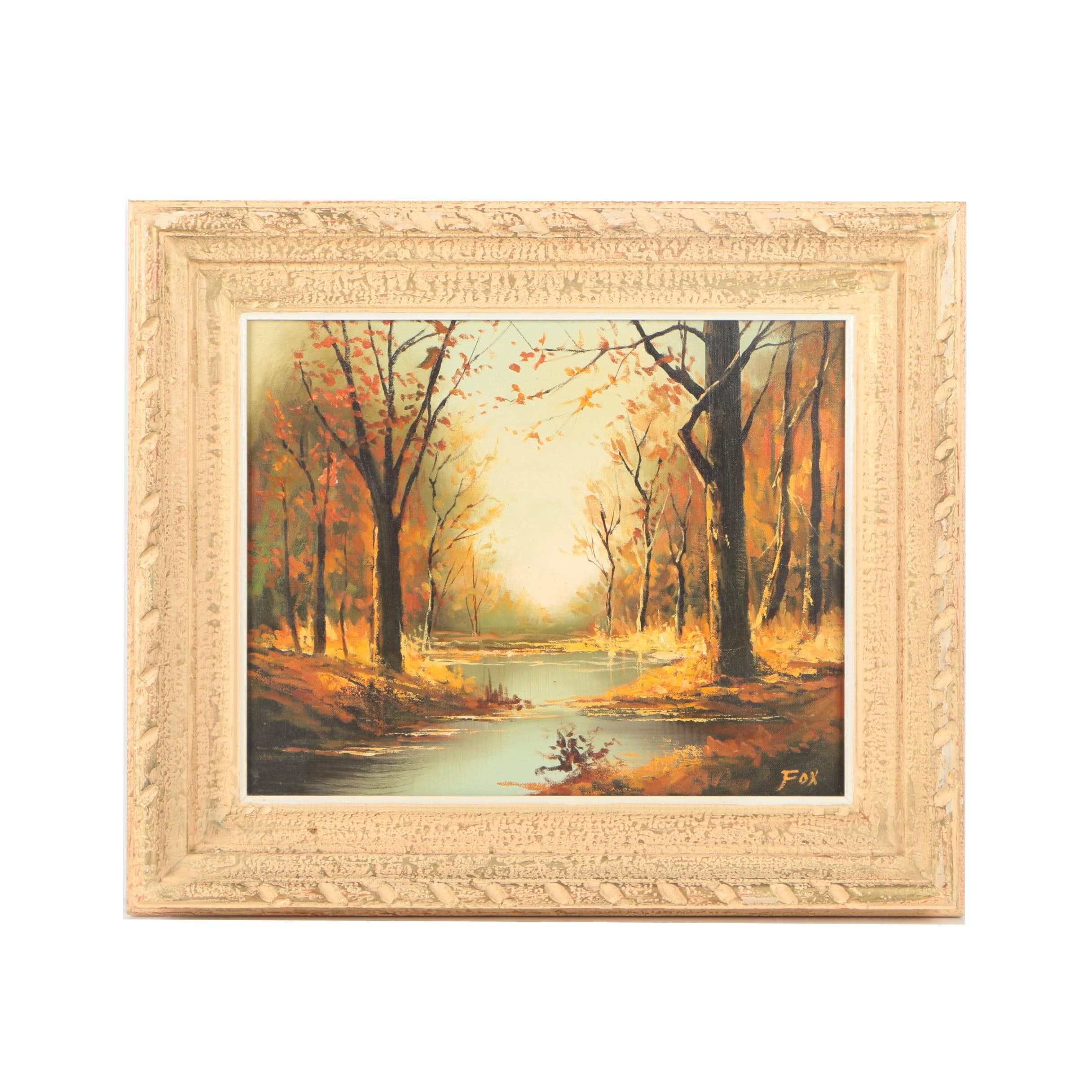 Fox Oil Painting on Canvas of Wooded Scene