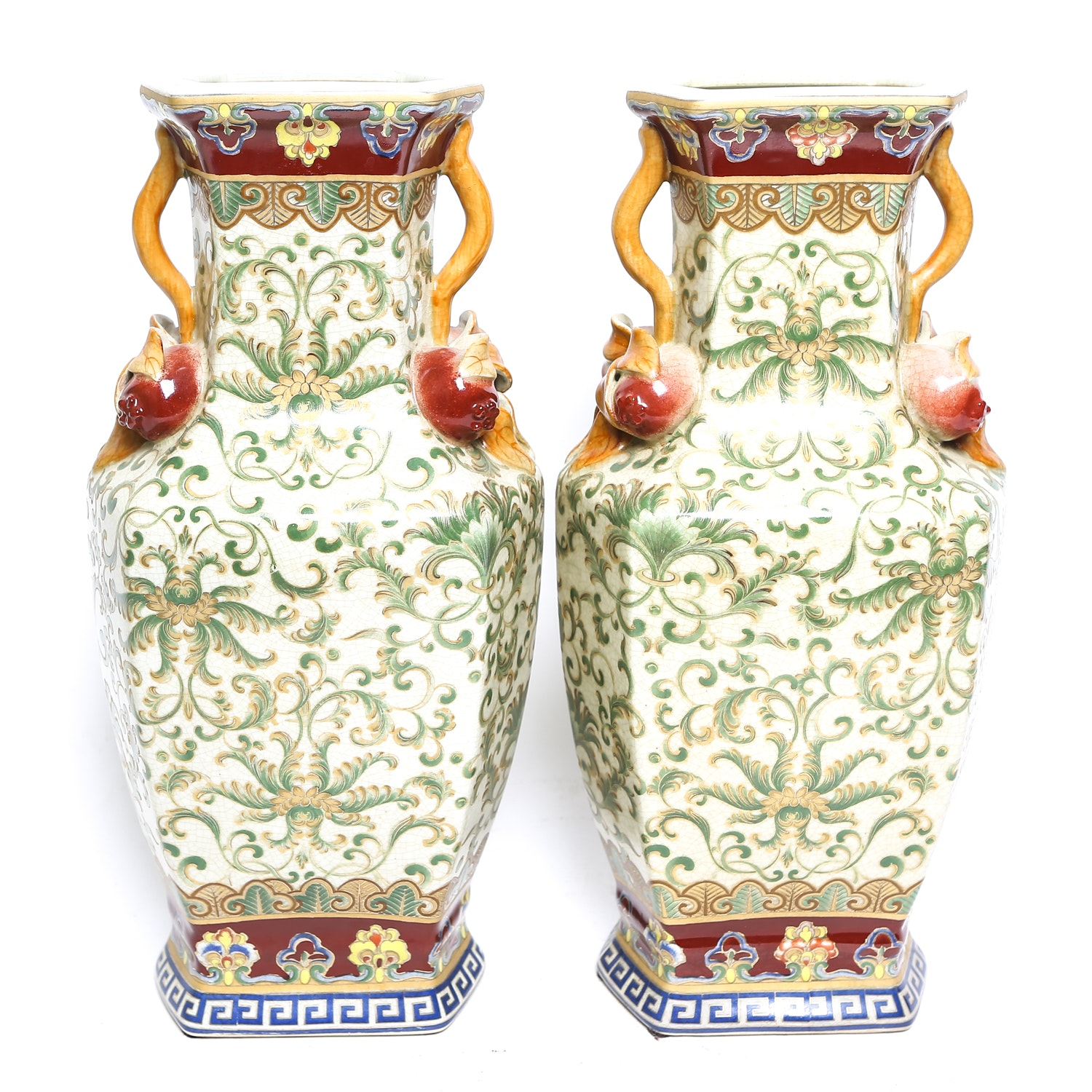 Pair of Chinese Style Scroll Pattern Vases