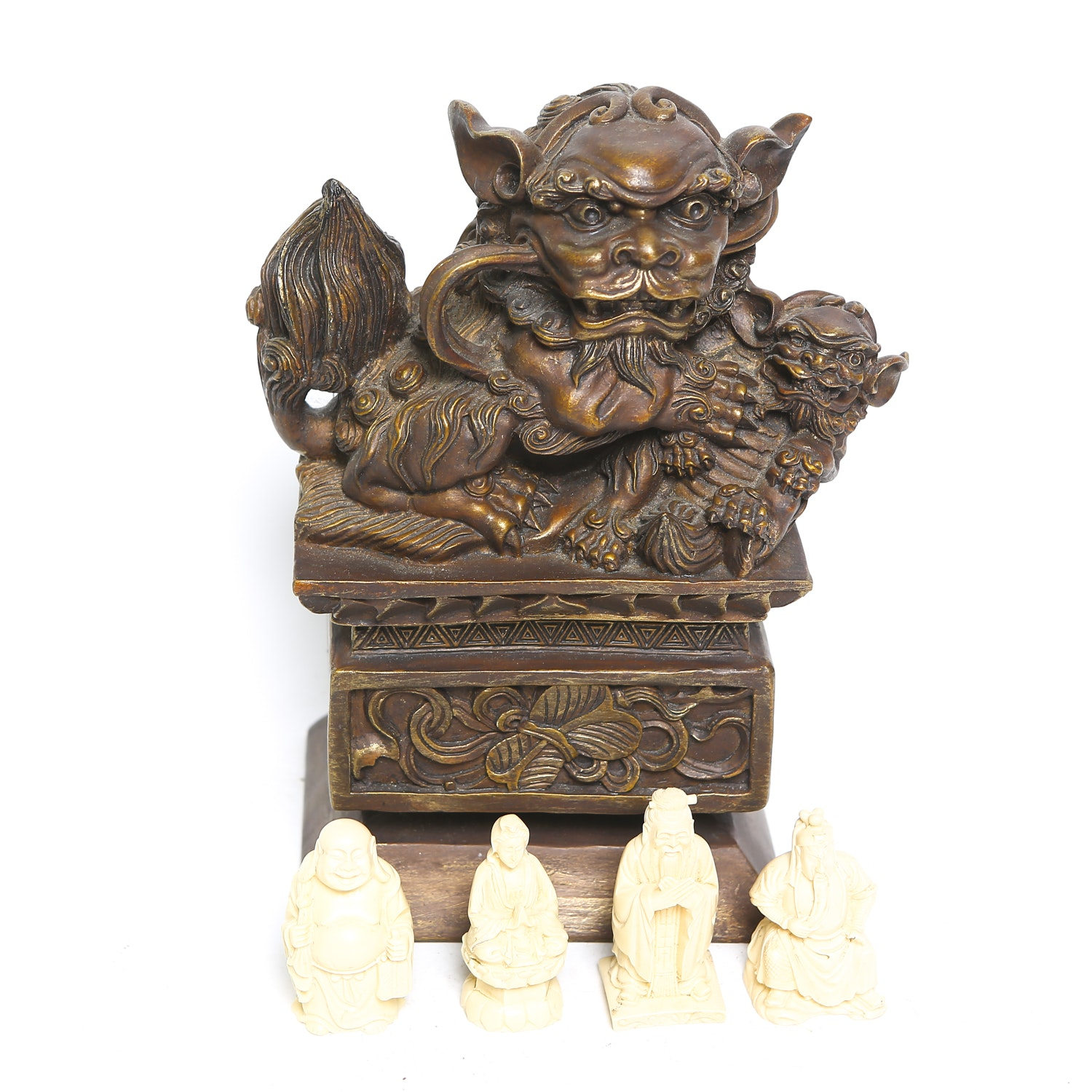 Faux Ivory Figurines and Large Guardian Lion
