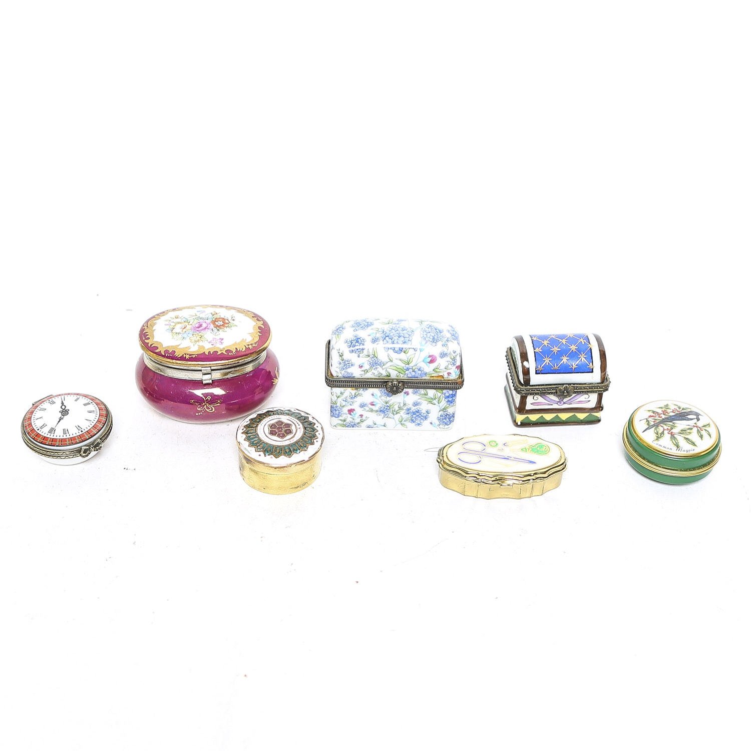 Grouping of Seven Trinket Boxes