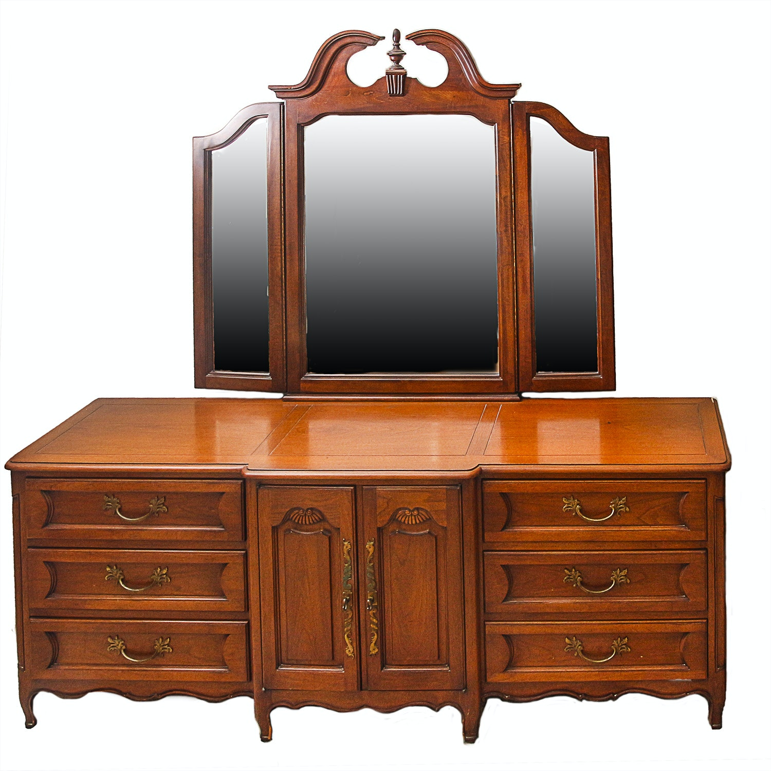 Vintage Louis XV Style Dresser by John Stuart Inc. With Mirror