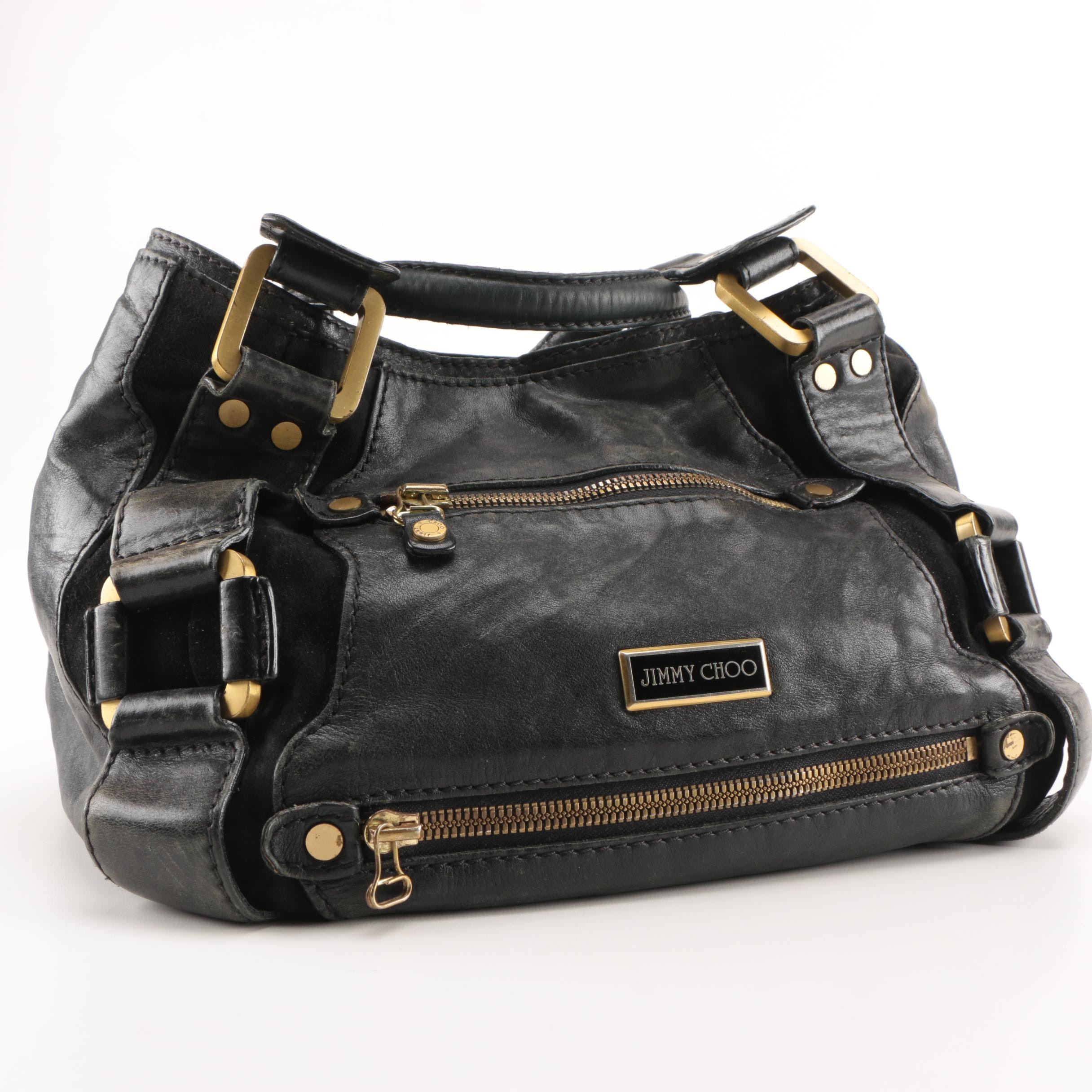 Jimmy Choo Black Leather Mahala Handbag