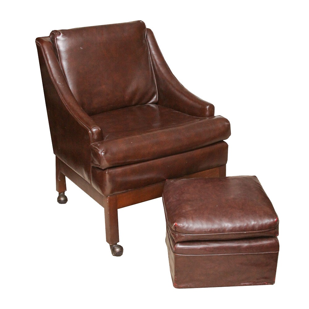 Vintage Arm Chair With Ottoman