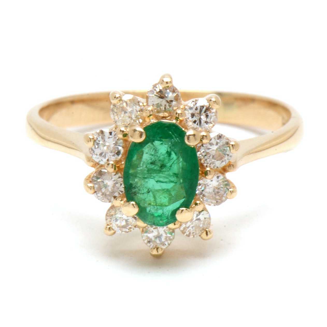 14K Yellow Gold Natural Emerald Diamond Floral Ring