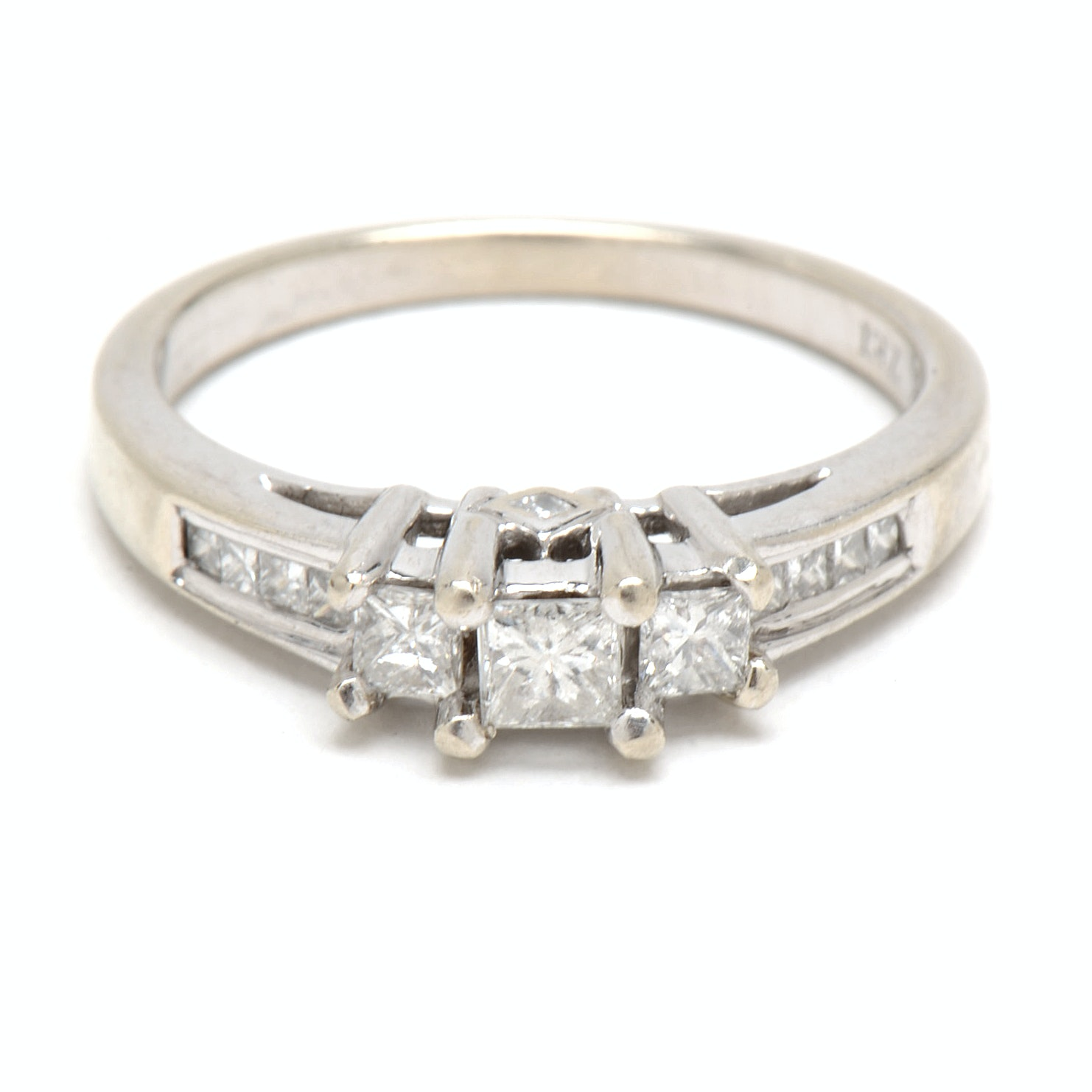 14K White Gold Princess-Cut Diamond Engagement Ring