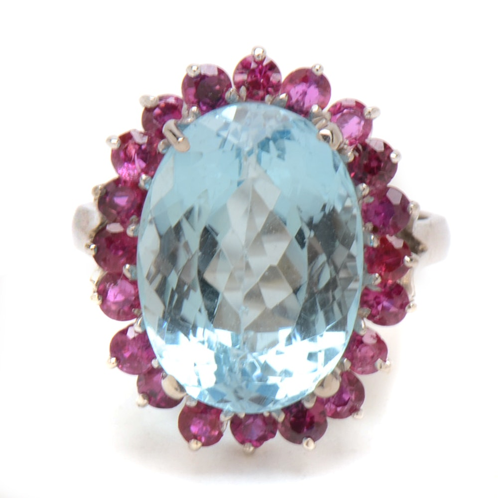 14K White Gold Blue Topaz Natural Ruby Cocktail Statement Ring