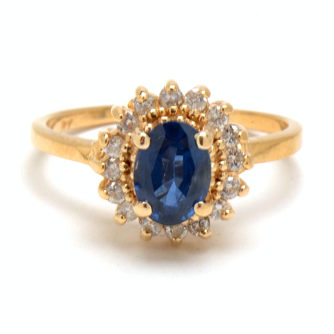 14K Yellow Gold 1.06 Carat Natural Blue Sapphire Diamond Ring