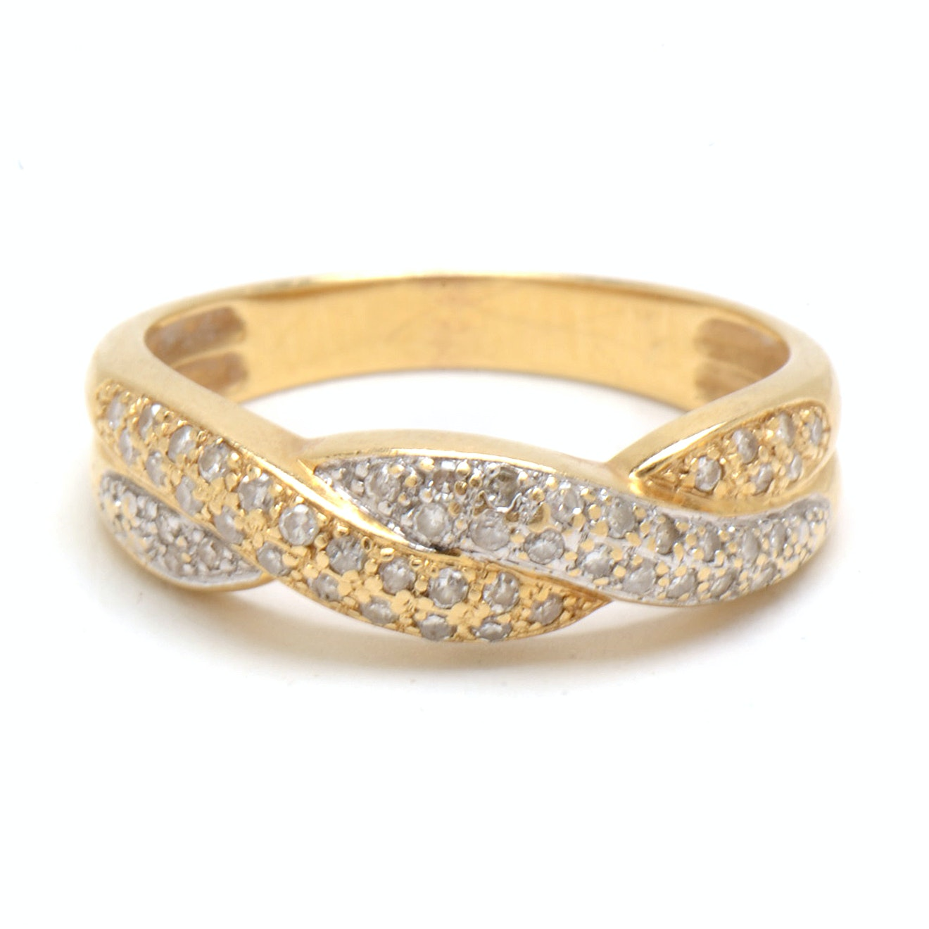 14K Yellow Gold Diamond Twisted Band Ring