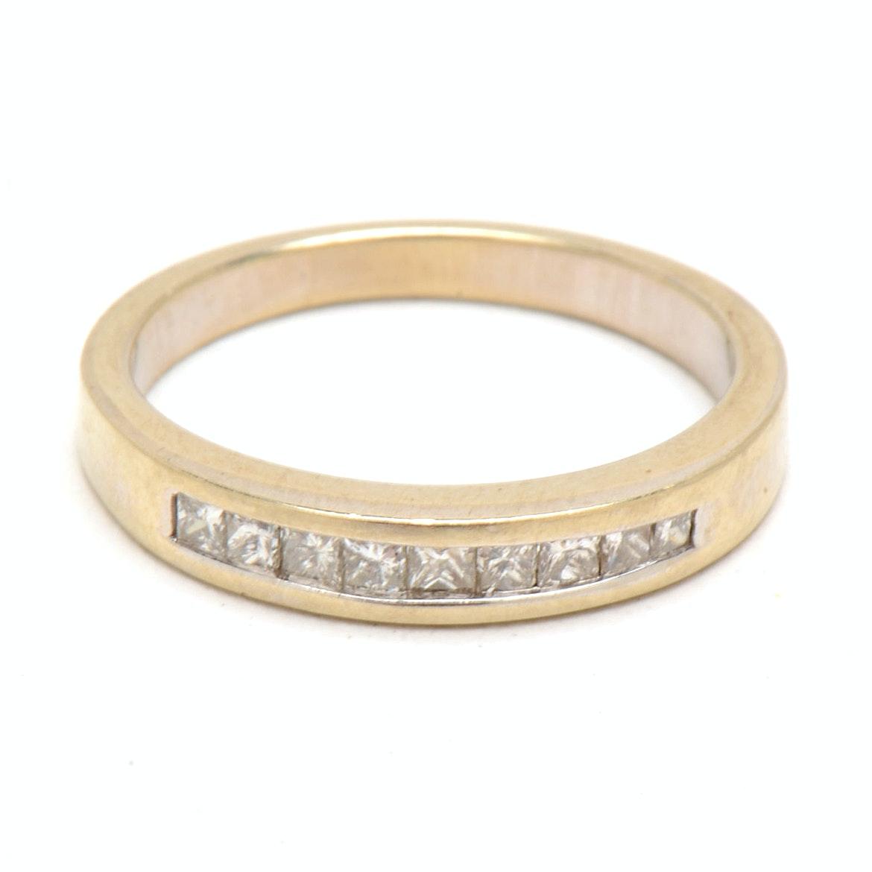 14K White Gold Channel-Set Diamond Band Ring