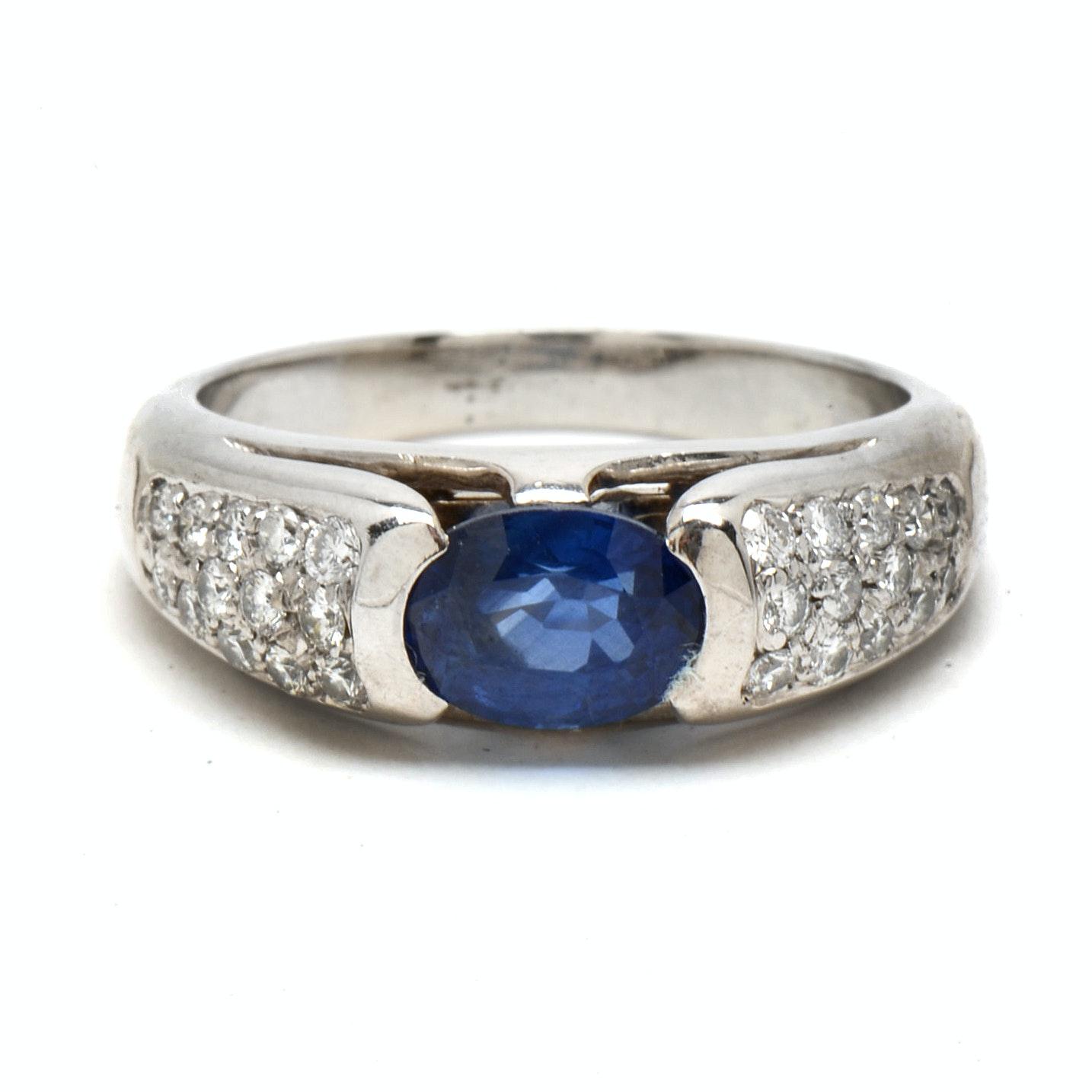 18K White Gold Natural Sapphire and Pavé Set Diamond Ring