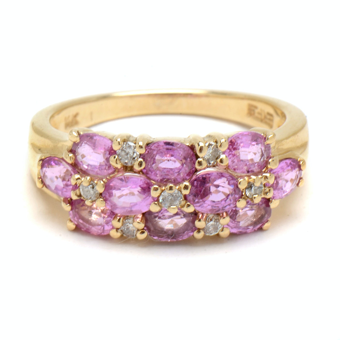 EFFY 14K Yellow Gold Pink Sapphire and Diamond Ring