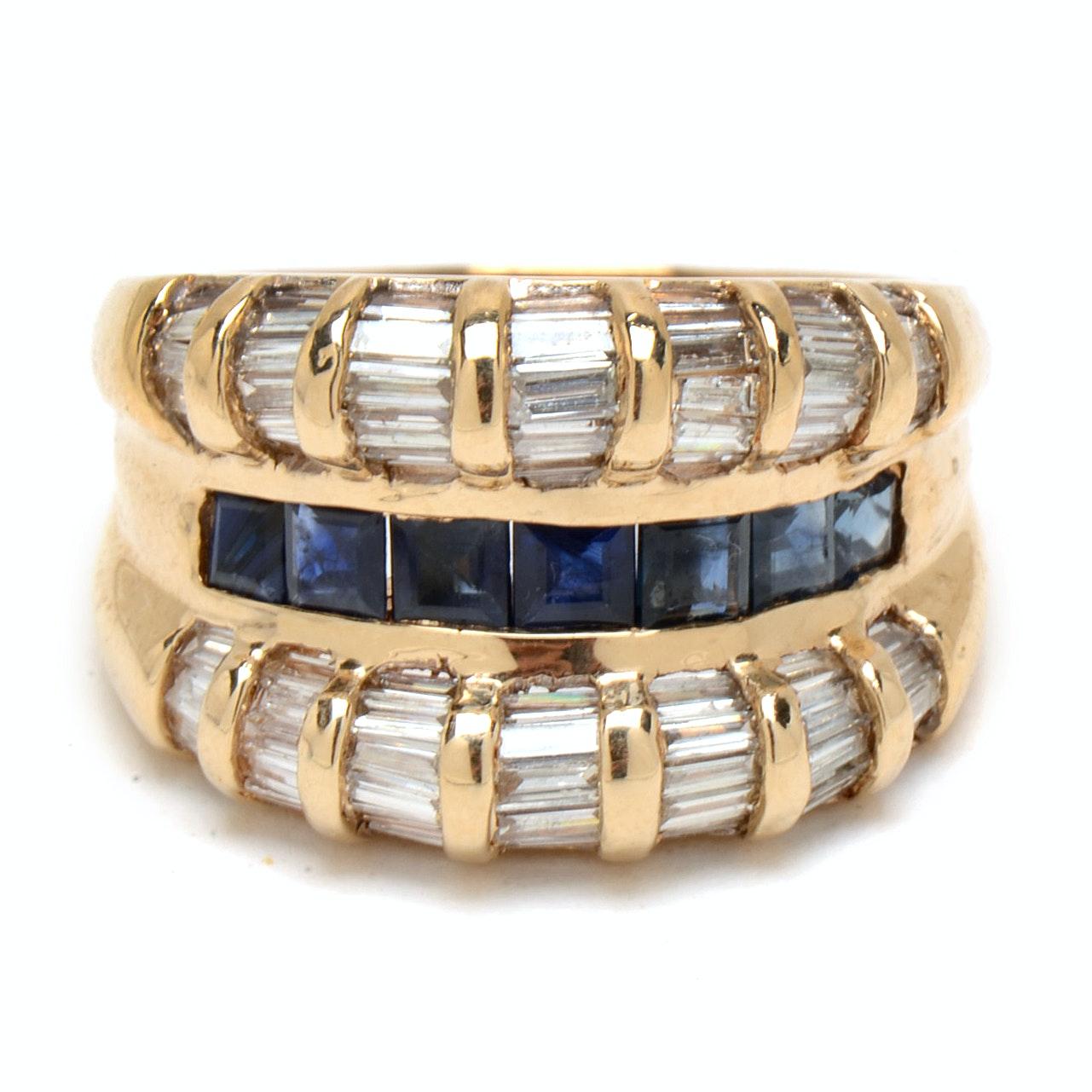 14K Yellow Gold Natural Blue Sapphire Diamond Statement Ring