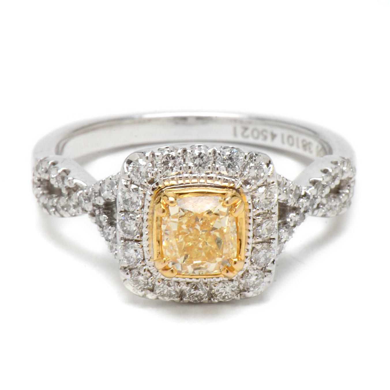 14K White Gold Light Yellow Diamond Engagement Ring