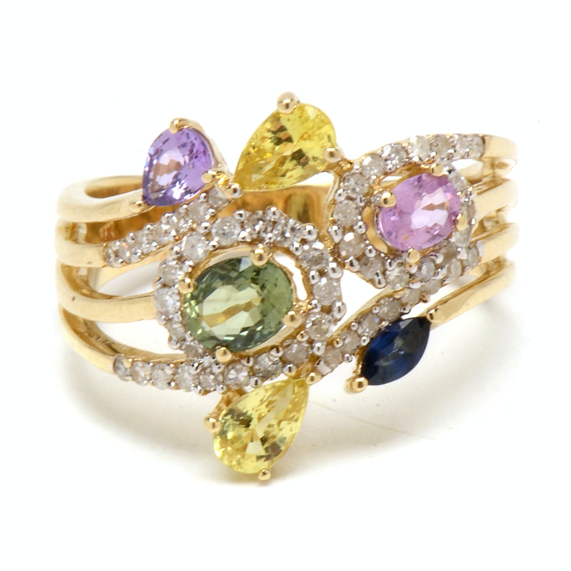 14K Yellow Gold Multi-Color Sapphire and Diamond Fashion Ring