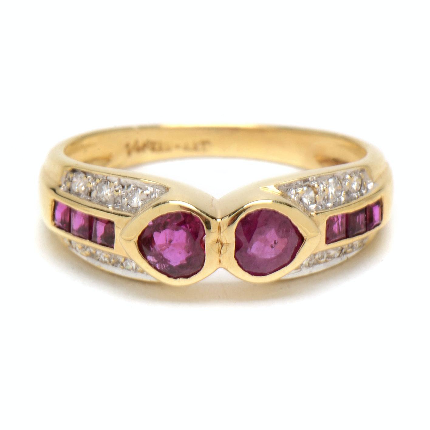 14K Yellow Gold Natural Ruby Diamond Ring